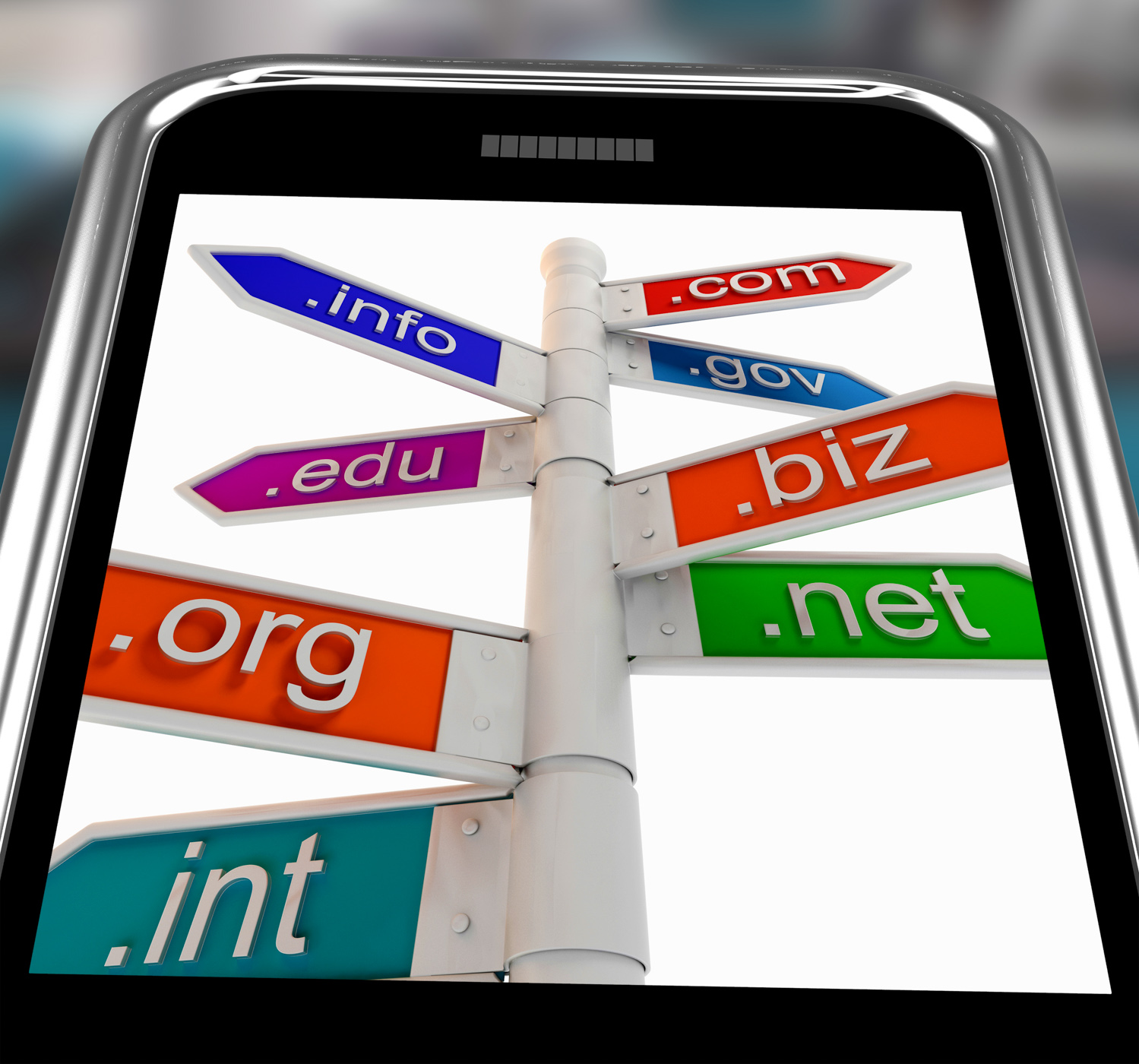 Domains on smartphone shows internet websites photo