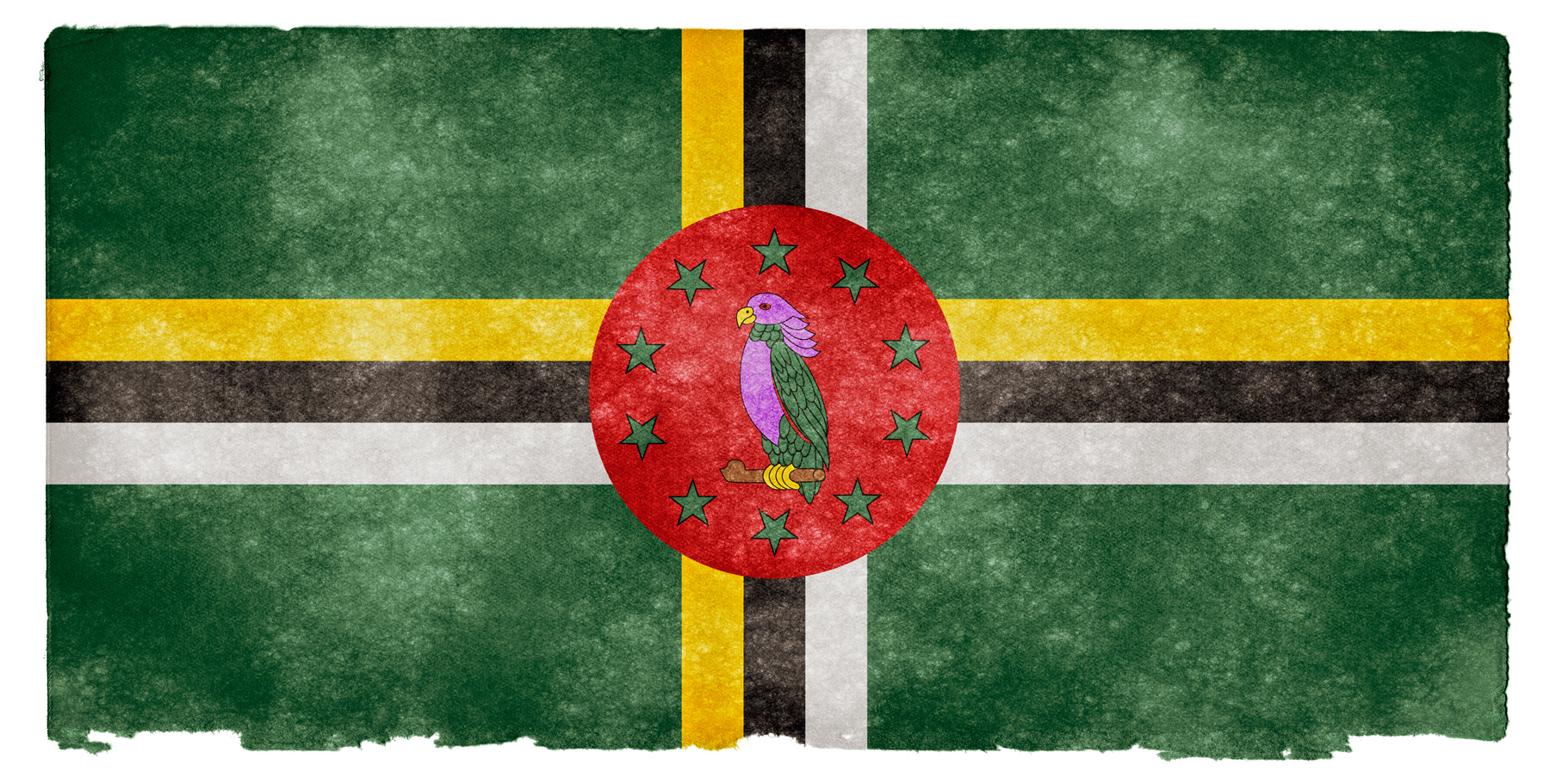 Dominica grunge flag photo