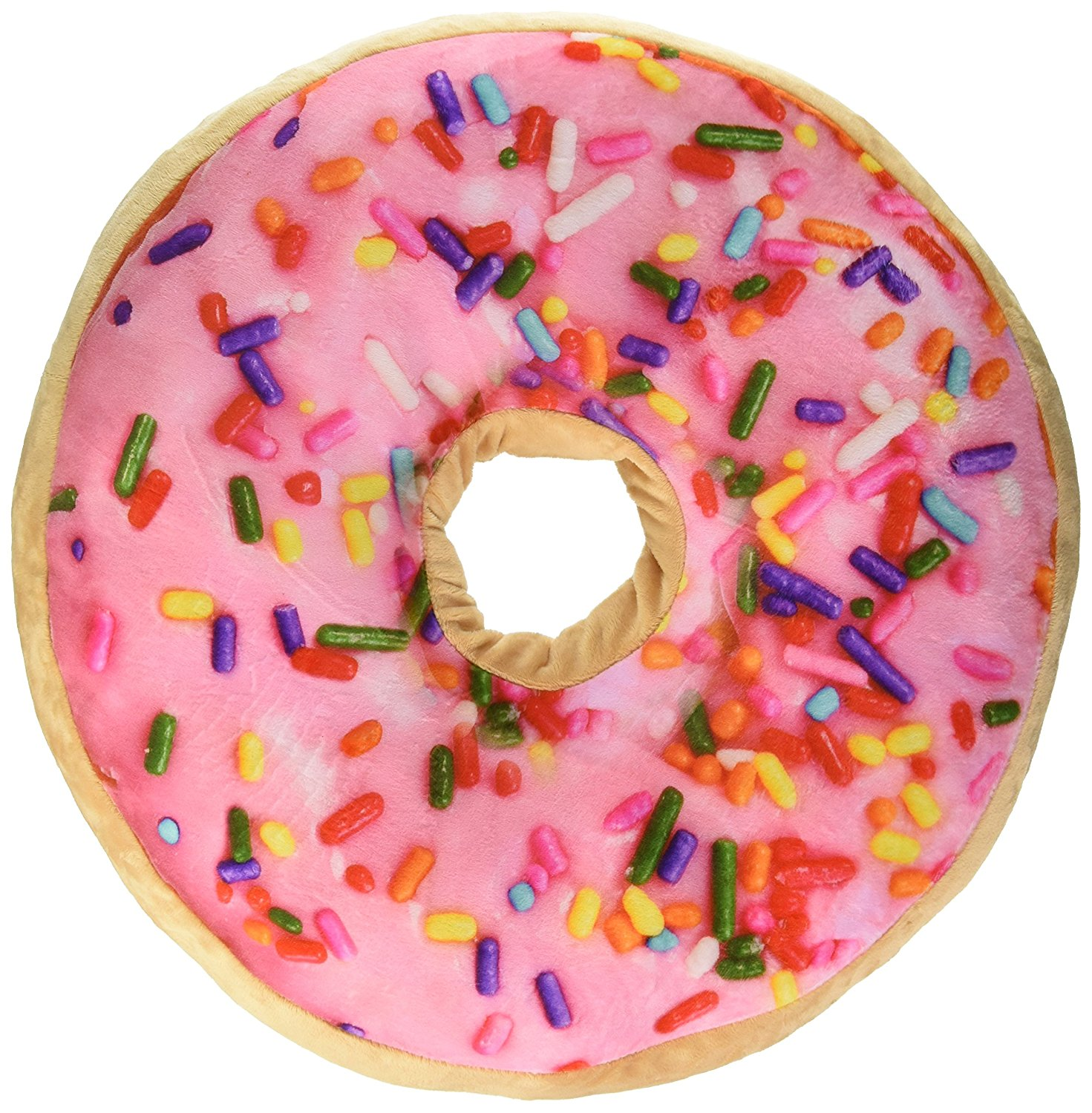 Amazon.com: Sprinkle Donut Pillow with Pink Frosting and Strawberry ...