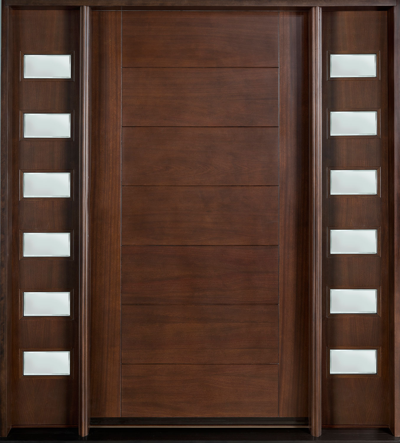 Modern Front Door, Design: Single with 2 Sidelites, Solid Mahogany ...