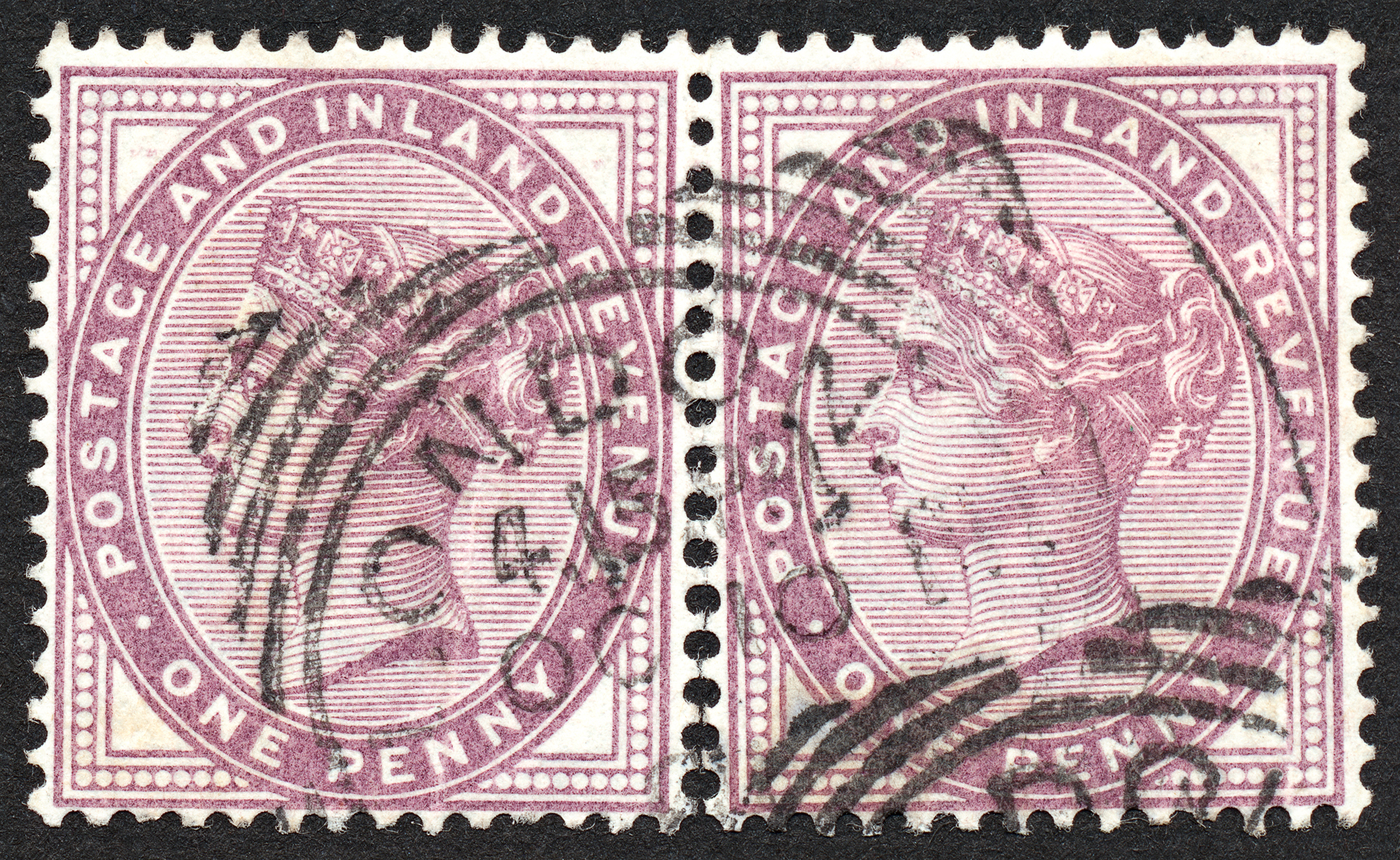 Double violet queen victoria stamps photo