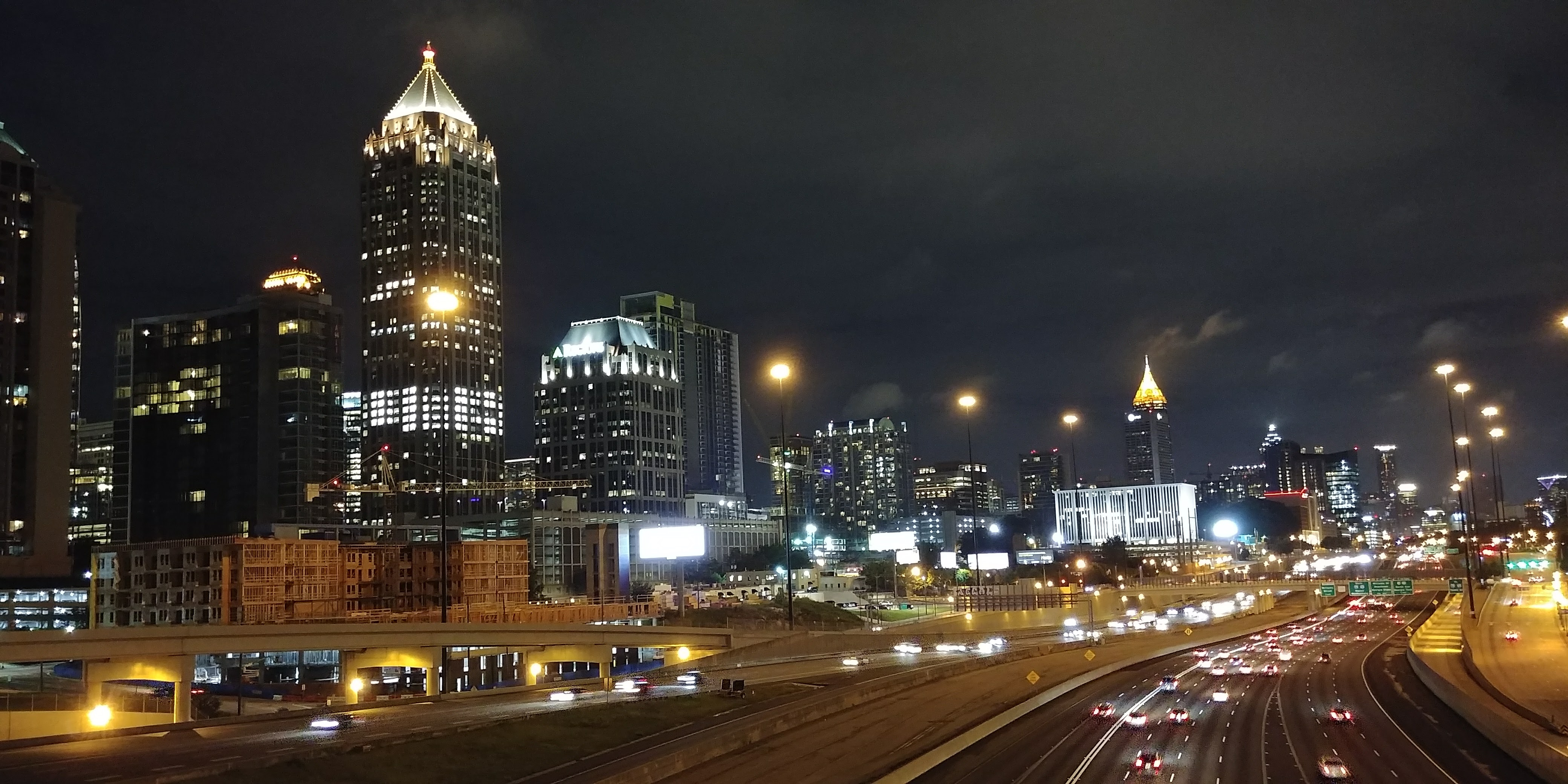 Downtown Atlanta at night, Atlanta, Building, Car, City, HQ Photo