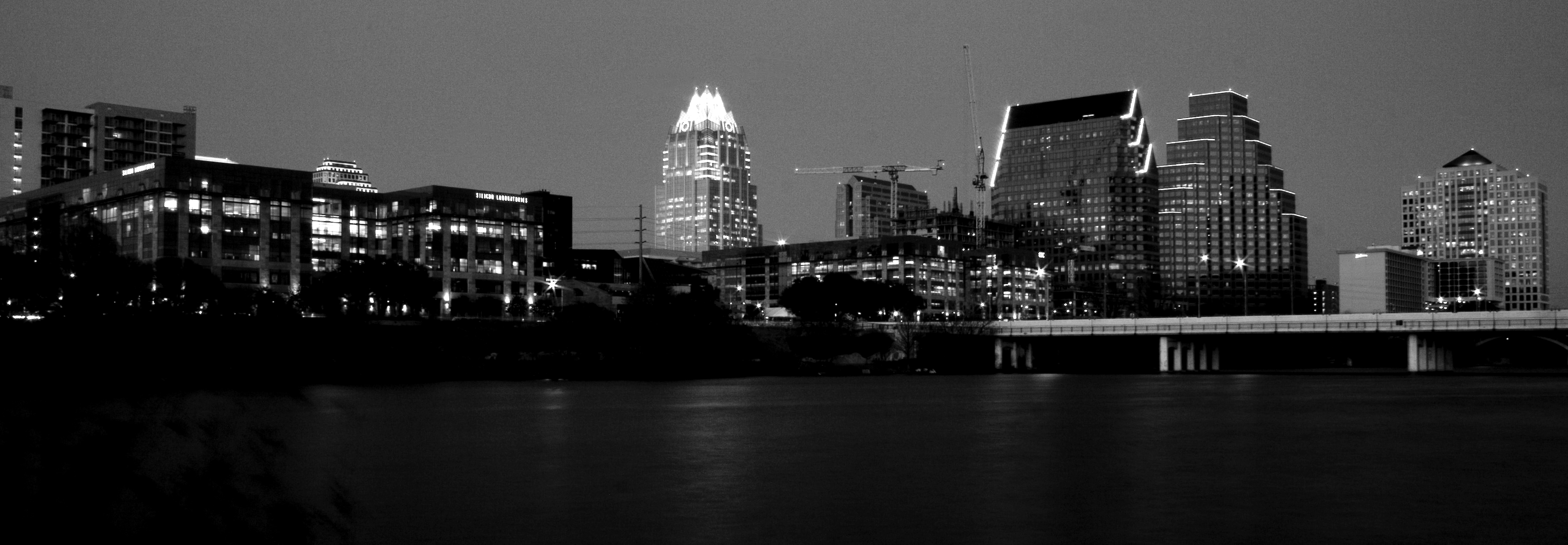 Downtown austin in black and white photo