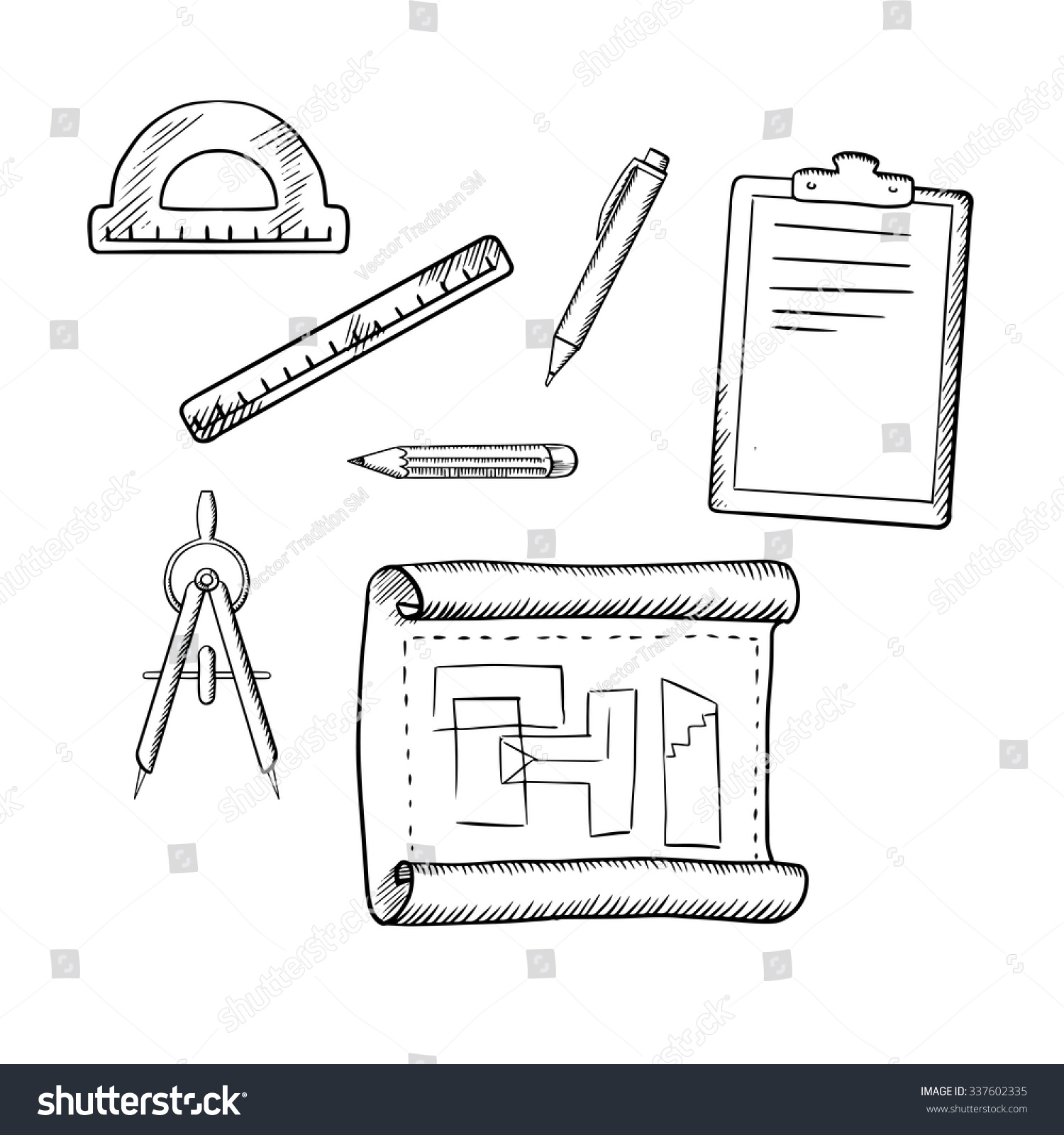 Architect Drawing Compasses Pencil Pen Ruler Stock Photo (Photo ...