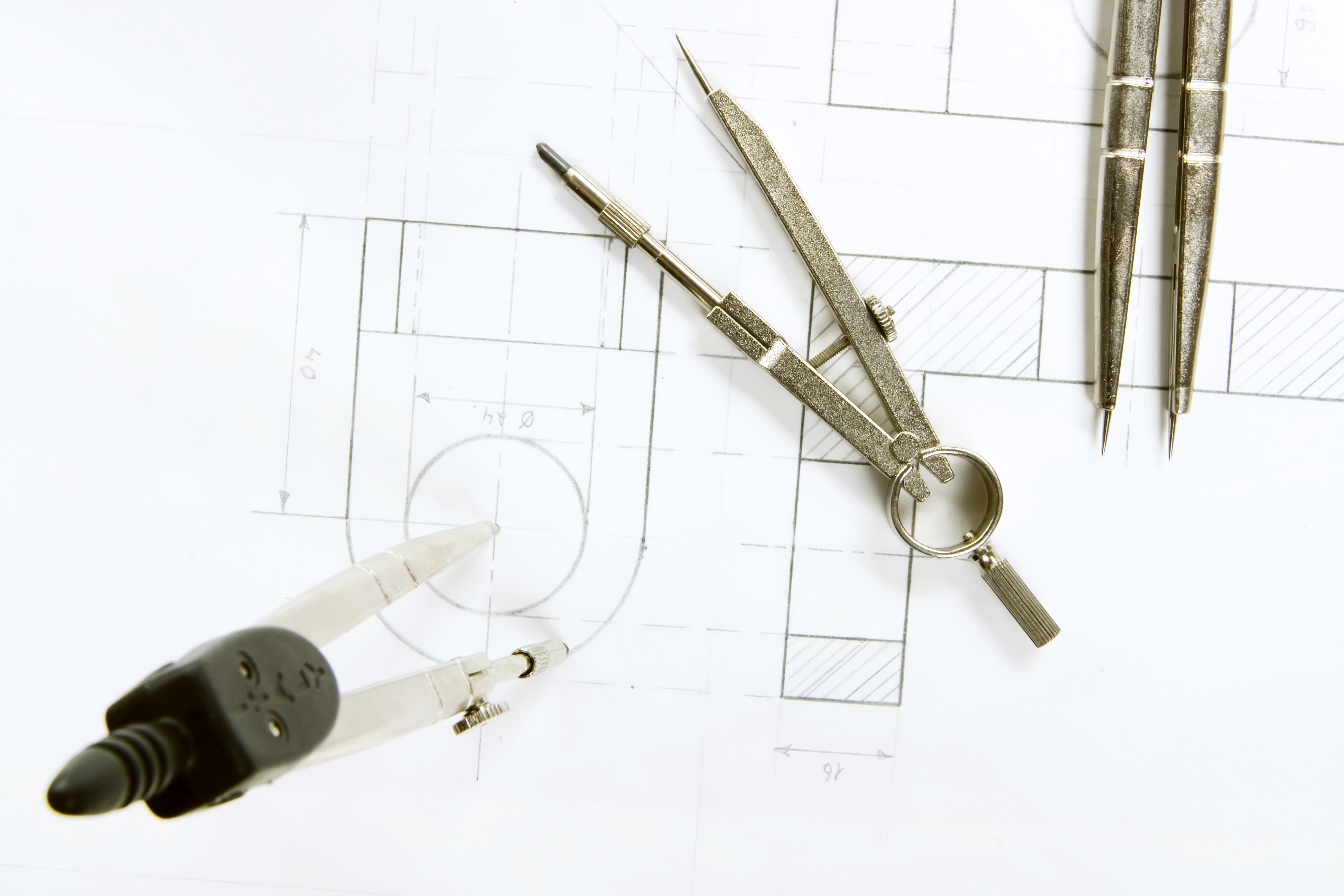 Drawing Compasses, Paper, White, Table, Sketch, HQ Photo