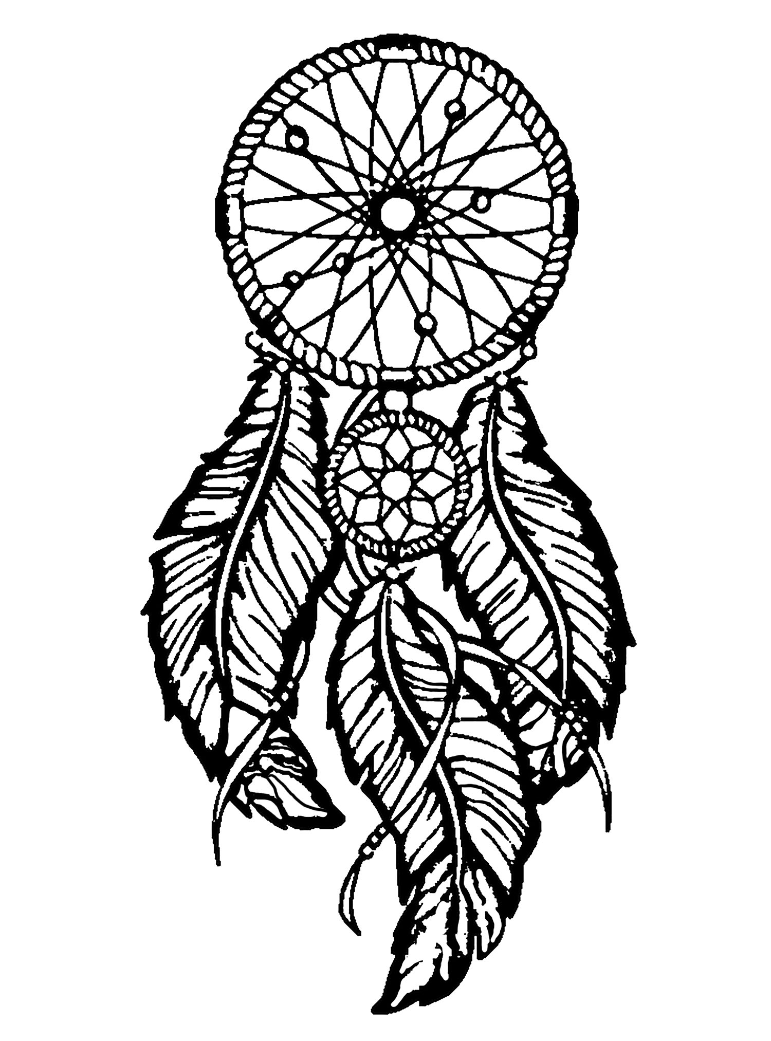 Dreamcatcher big feathers - Dreamcatchers Adult Coloring Pages