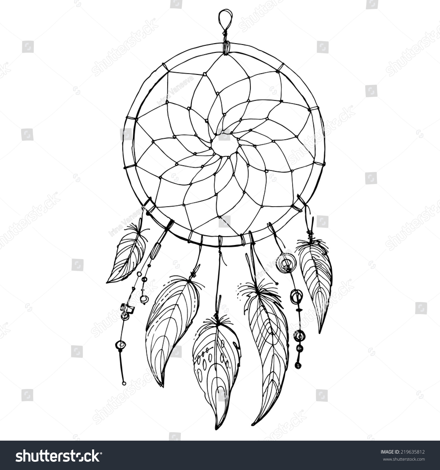Dreamcatcher Feathers Beads Native American Indian Stock Photo ...