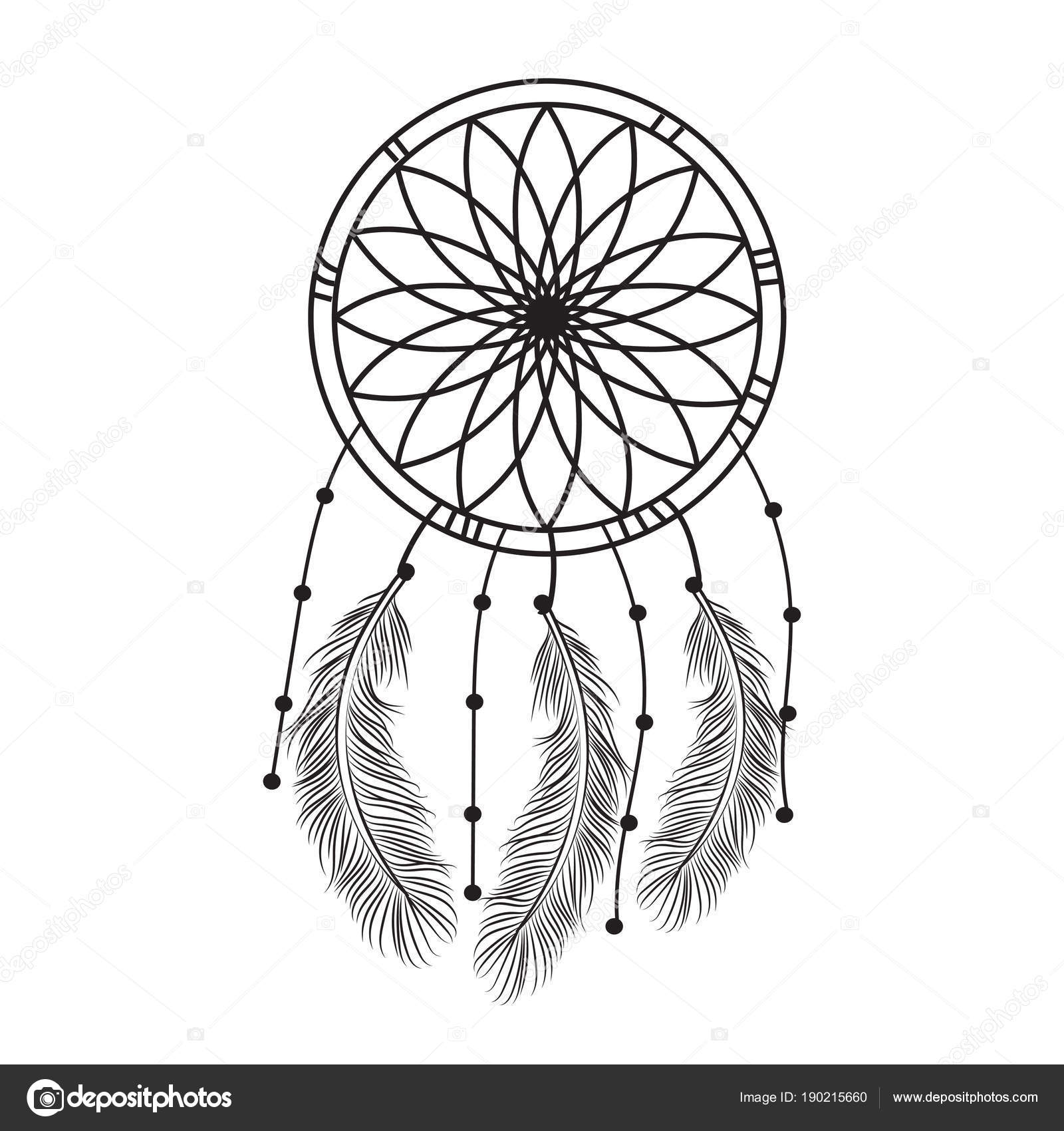 Dream Catcher Graphic Black White Decorated Feathers Beads Giving ...