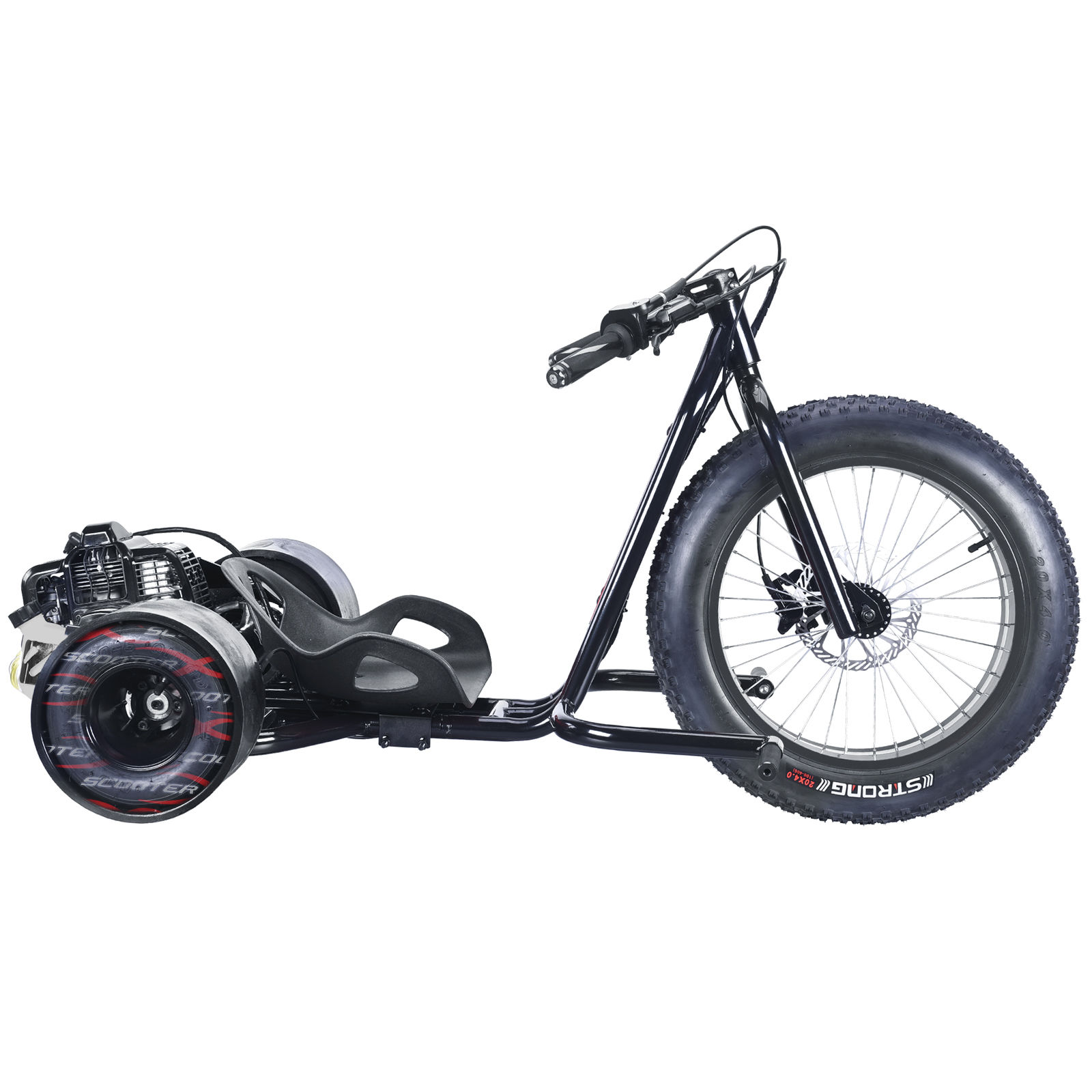Wicked Fast ScooterX Black Drifter Drift Trike Bike 49cc Gas Powered ...