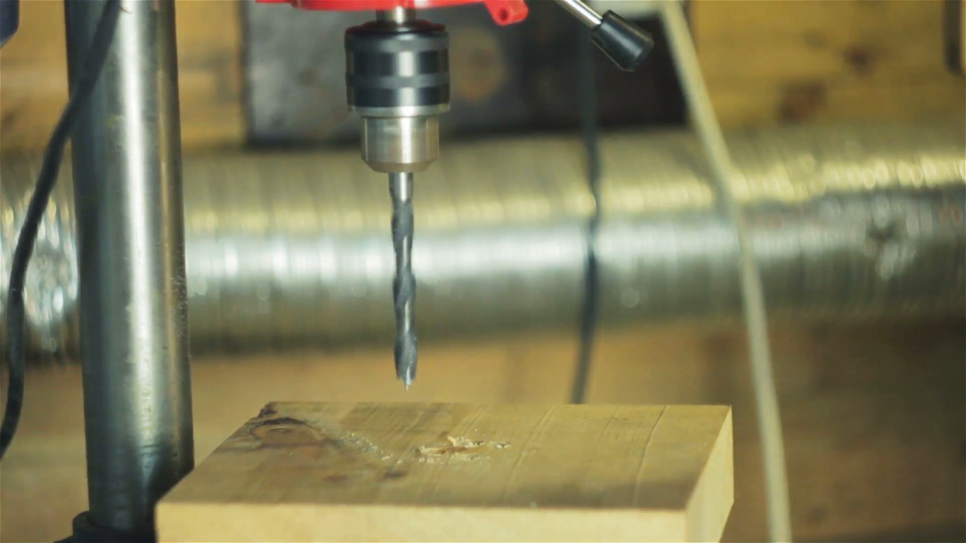 Closeup of drilling holes in the wood with a drill press Stock Video ...