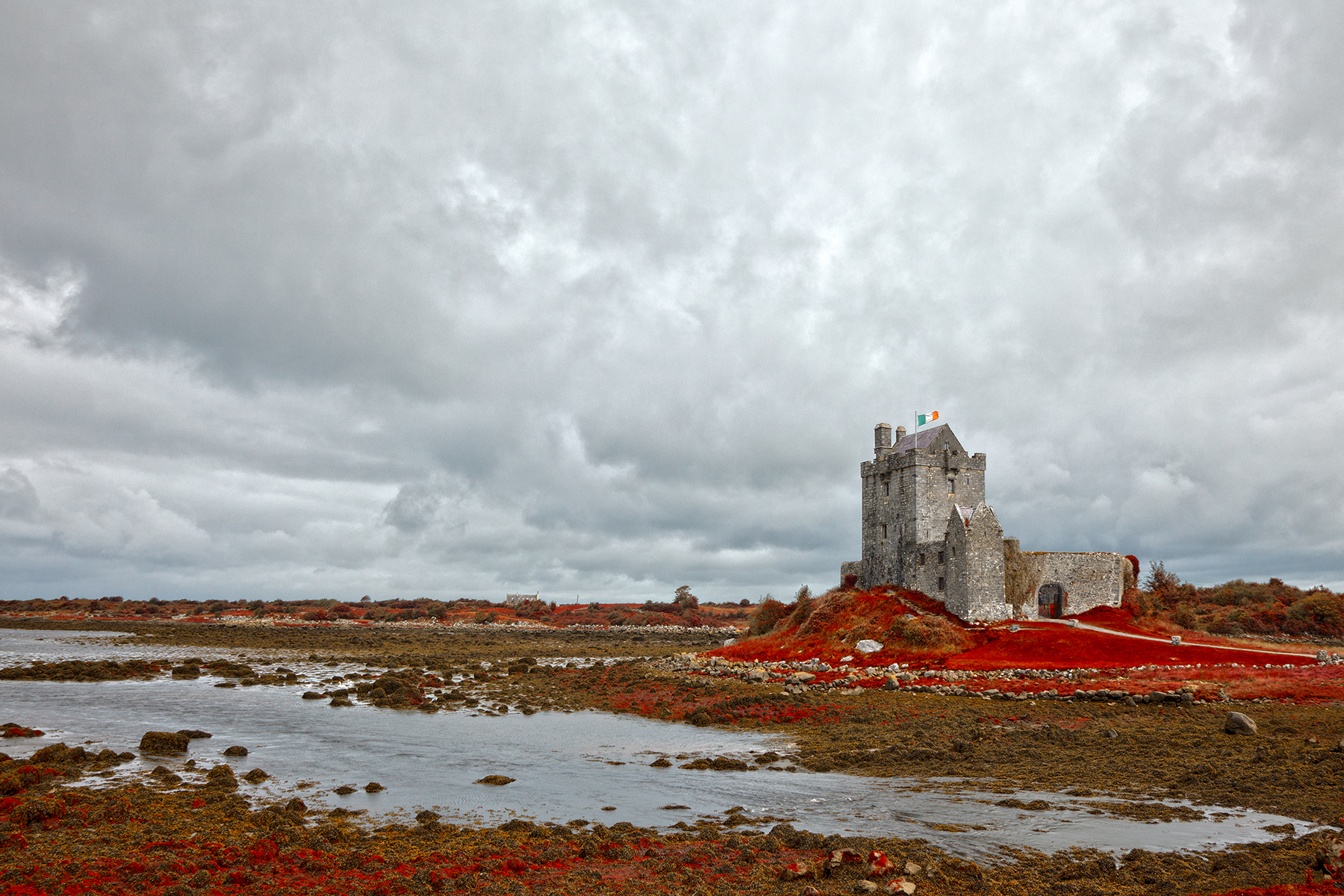Dunguaire Castle - Blood Red HDR, Age, Passageway, Scene, Rugged, HQ Photo