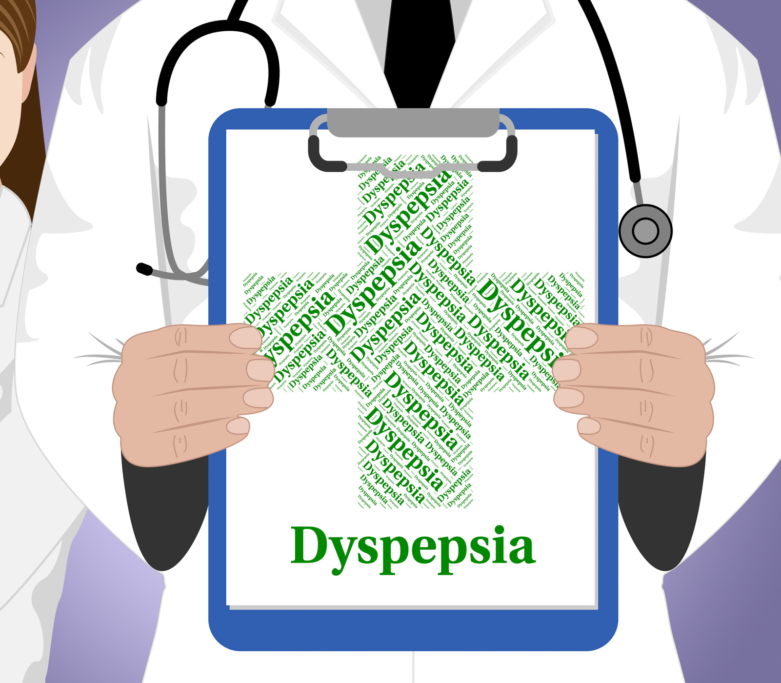 Dyspepsia word indicates poor health and affliction photo