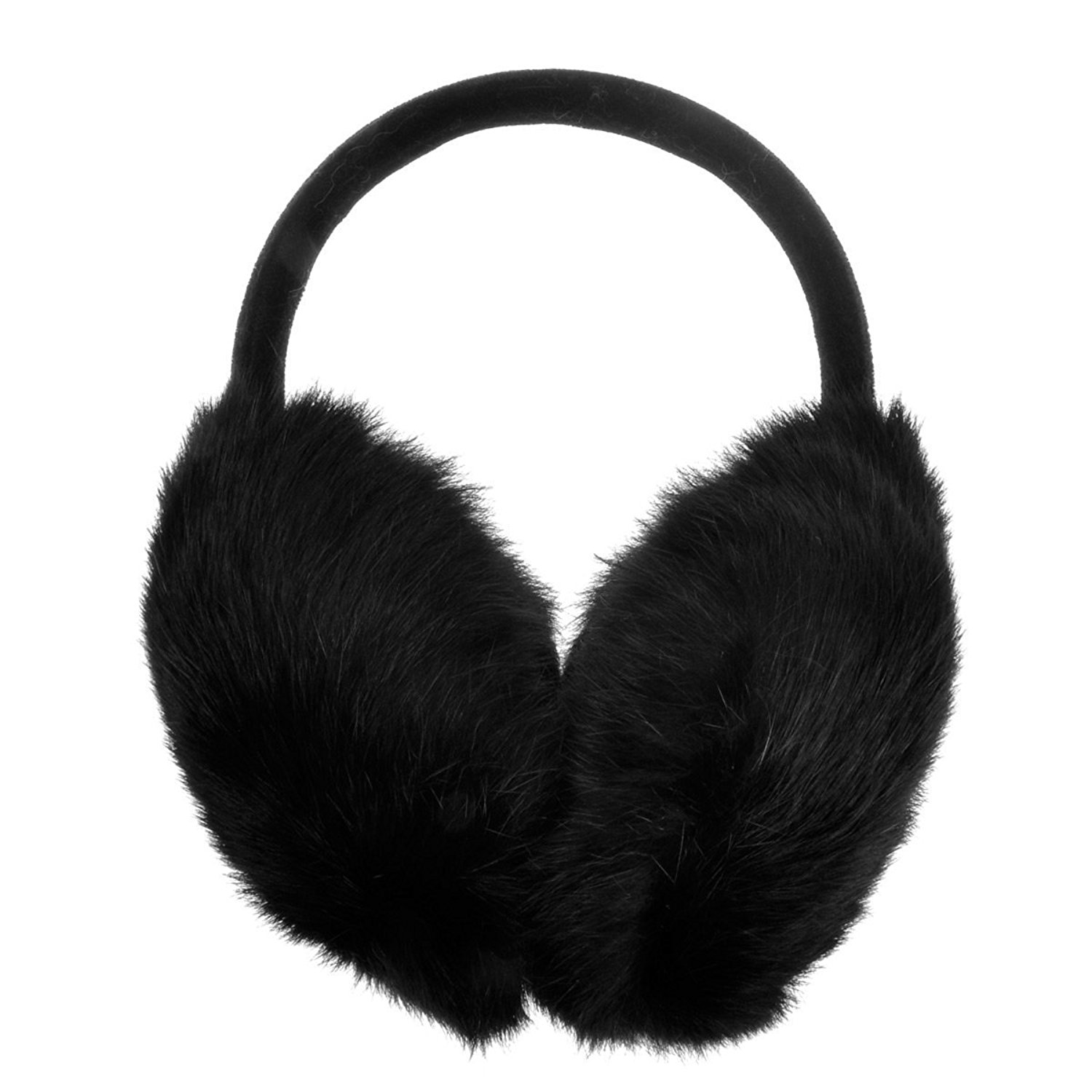ZLYC Womens Girls Genuine Rabbit Fur EarMuffs Adjustable Ear Warmers ...