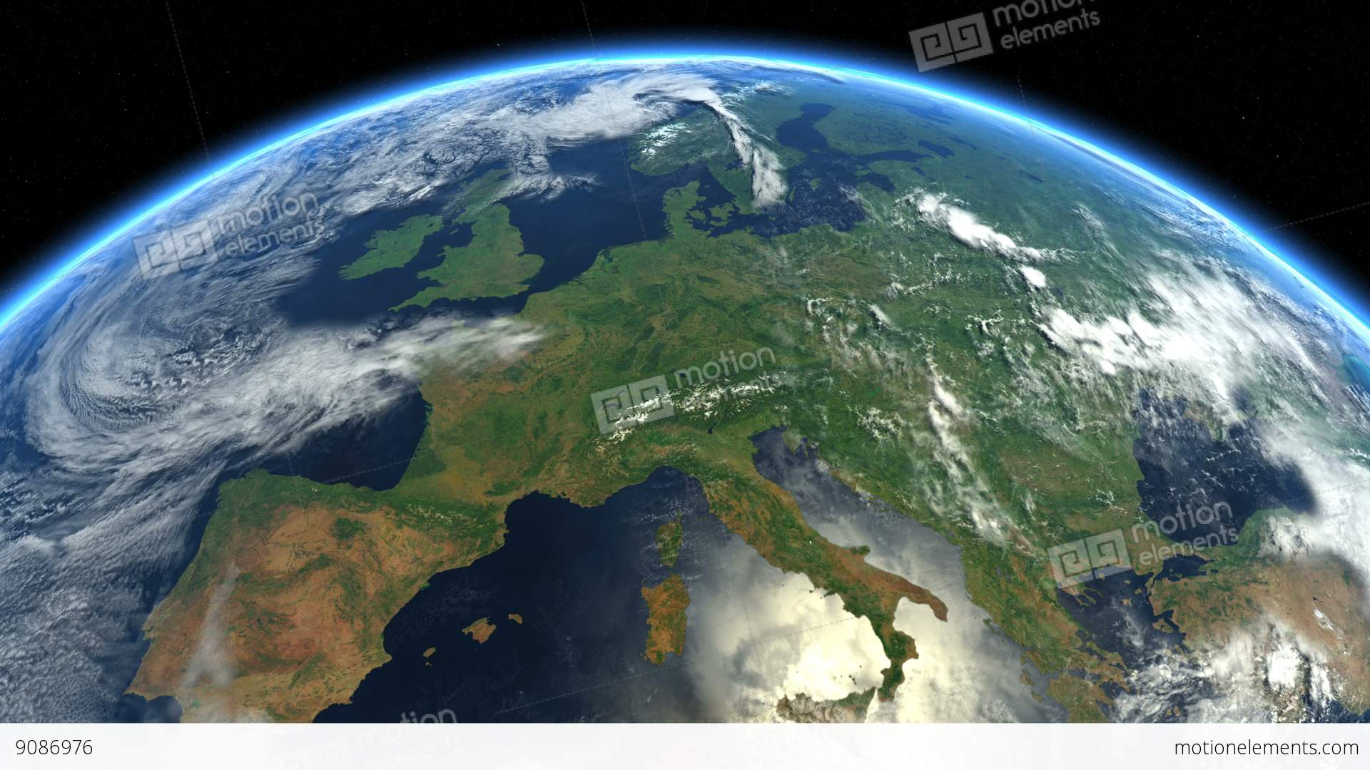 Europe From Space. Earth From Space CG動画素材 | 9086976