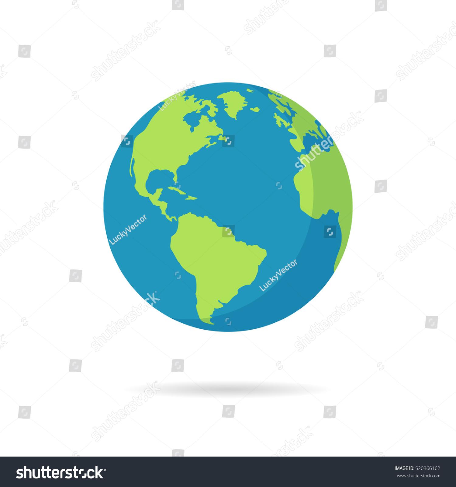 Flat Planet Earth Icon Vector Illustration Stock Vector (2018 ...