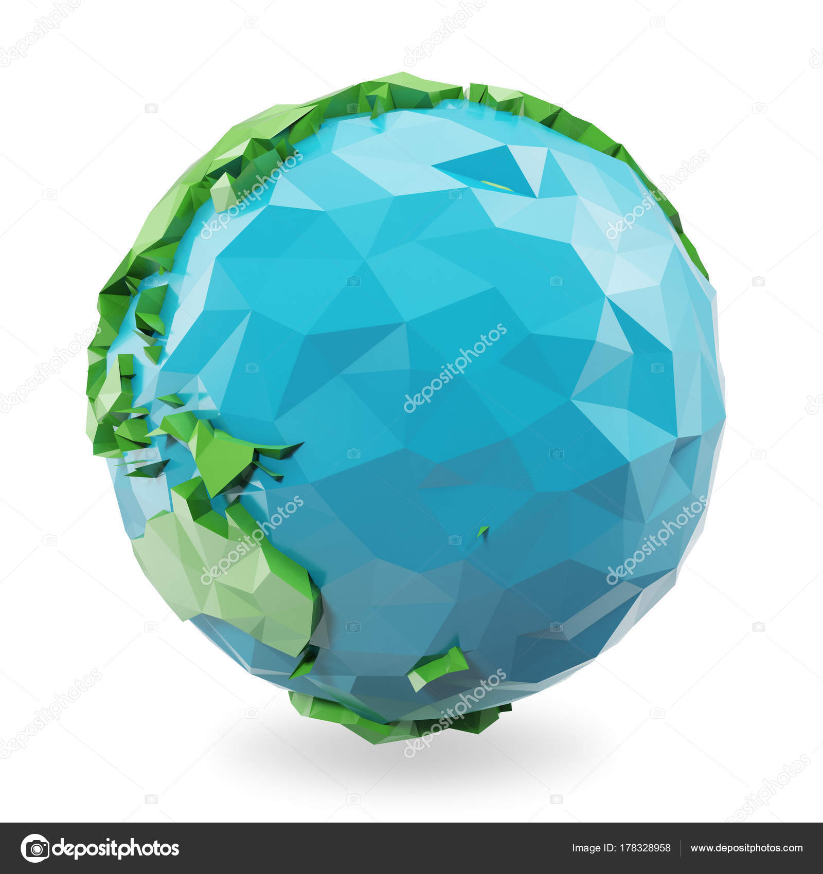 3D Rendering low poly earth globe illustration. Polygonal globe icon ...