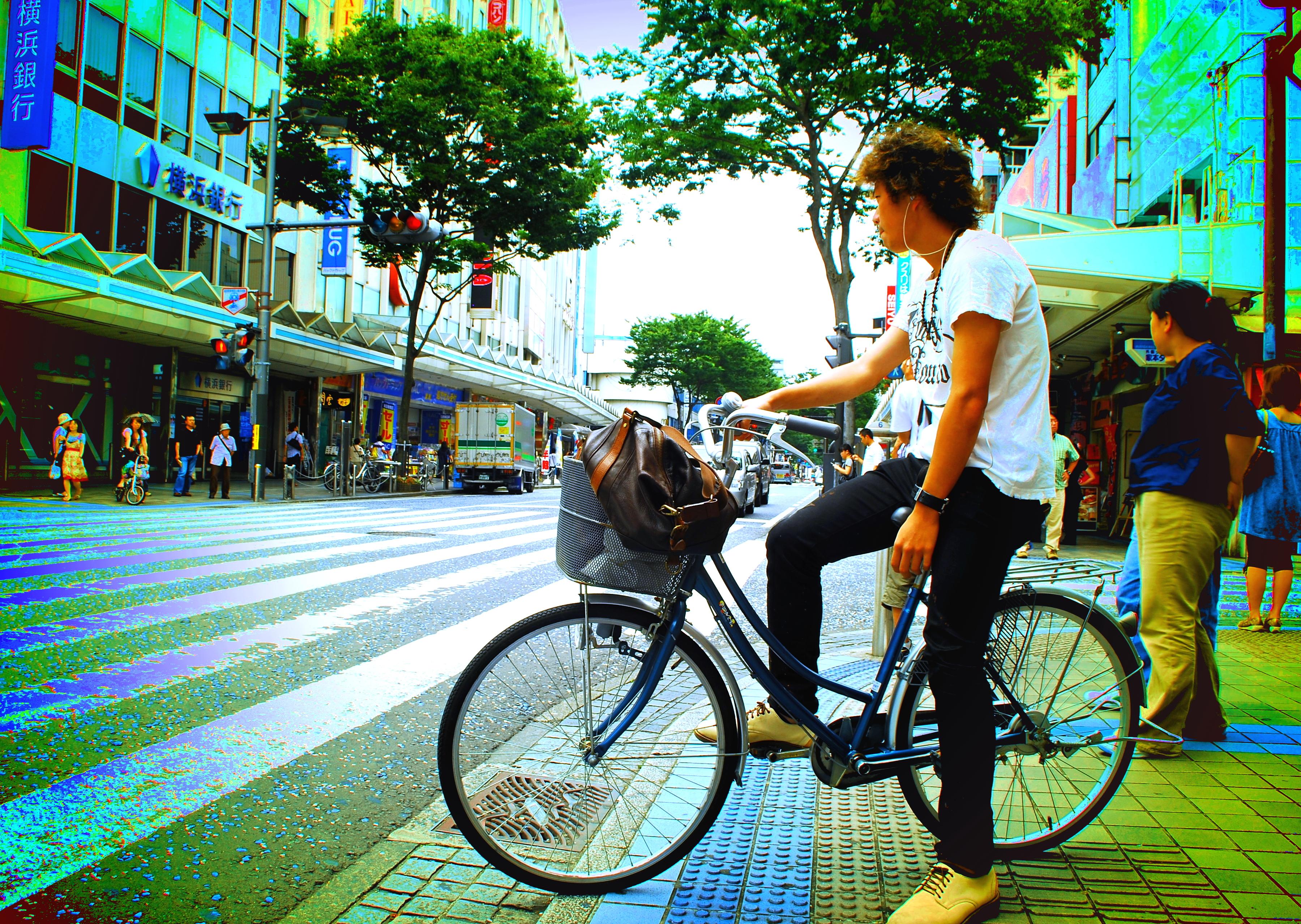 Easy Rider, Bicycle, Man, Traffic, Teen, HQ Photo