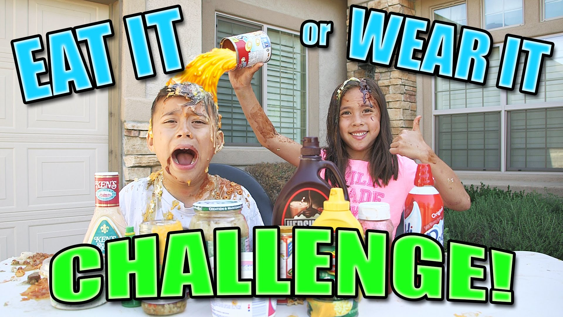 EAT IT or WEAR IT CHALLENGE! Super Messy Dump Everything Version ...