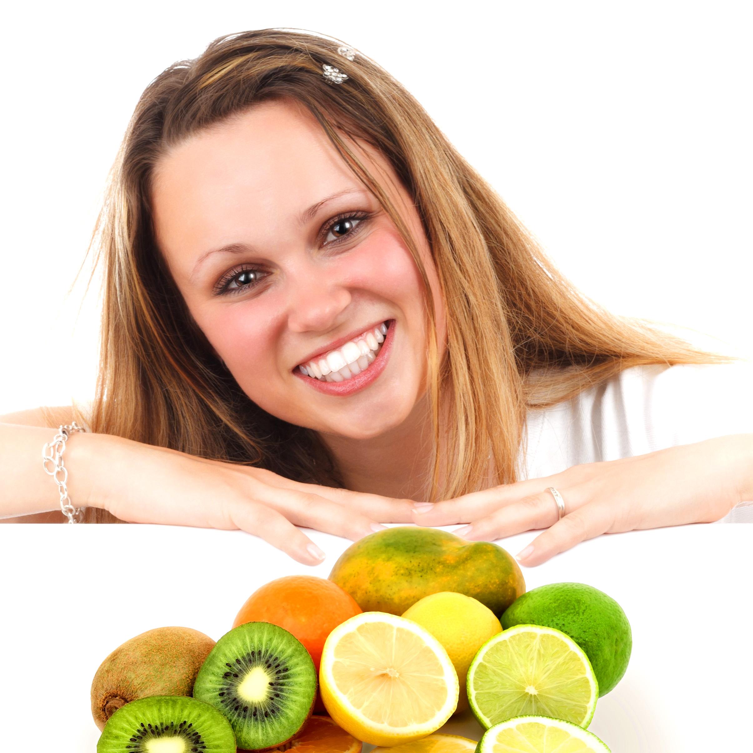 Eat More Fruit - Woman and Assorted Fruit, Adult, Nutrition, Positive, Portrait, HQ Photo