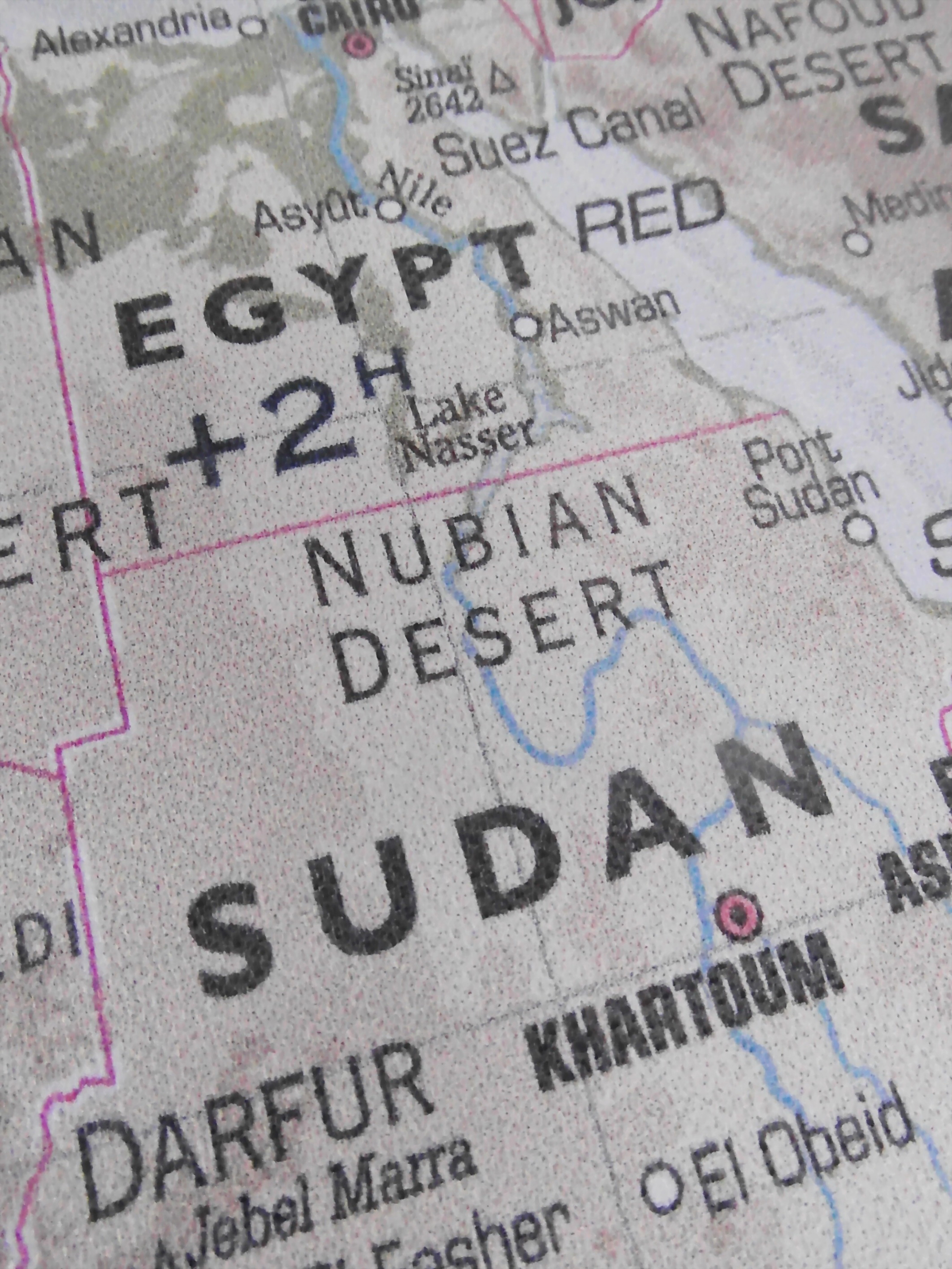 Egypt and sudan map photo