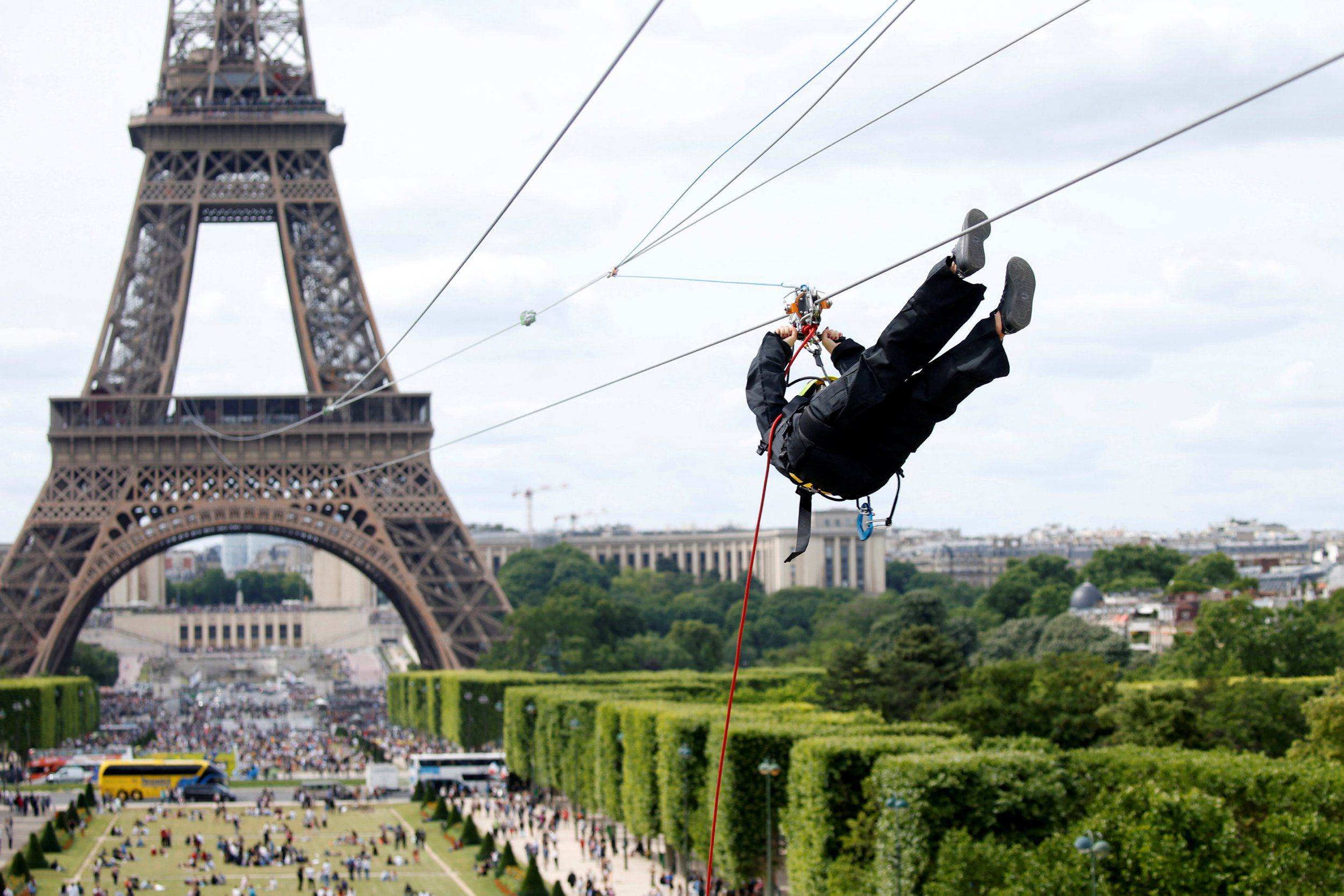 For the real dare devils: you can now zip line off the Eiffel Tower ...