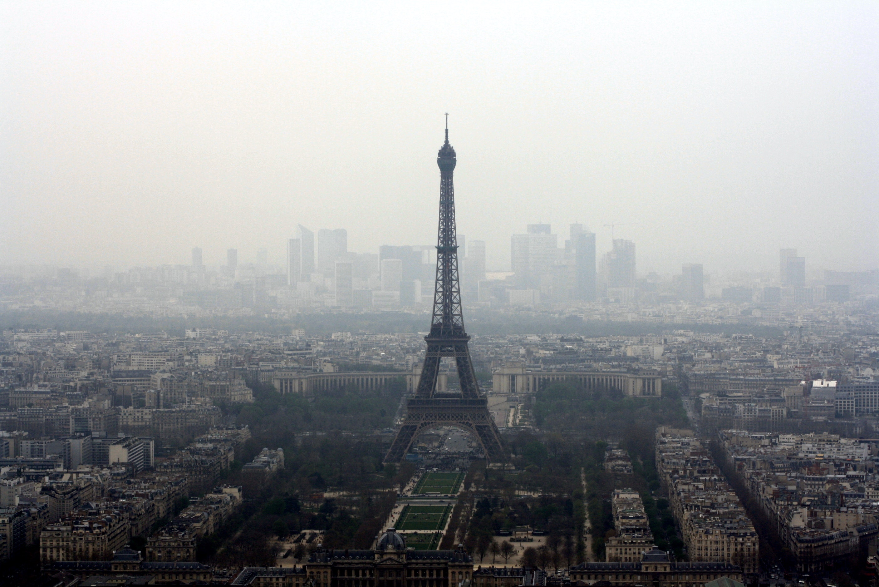 Eiffel tower view in foggy weather photo