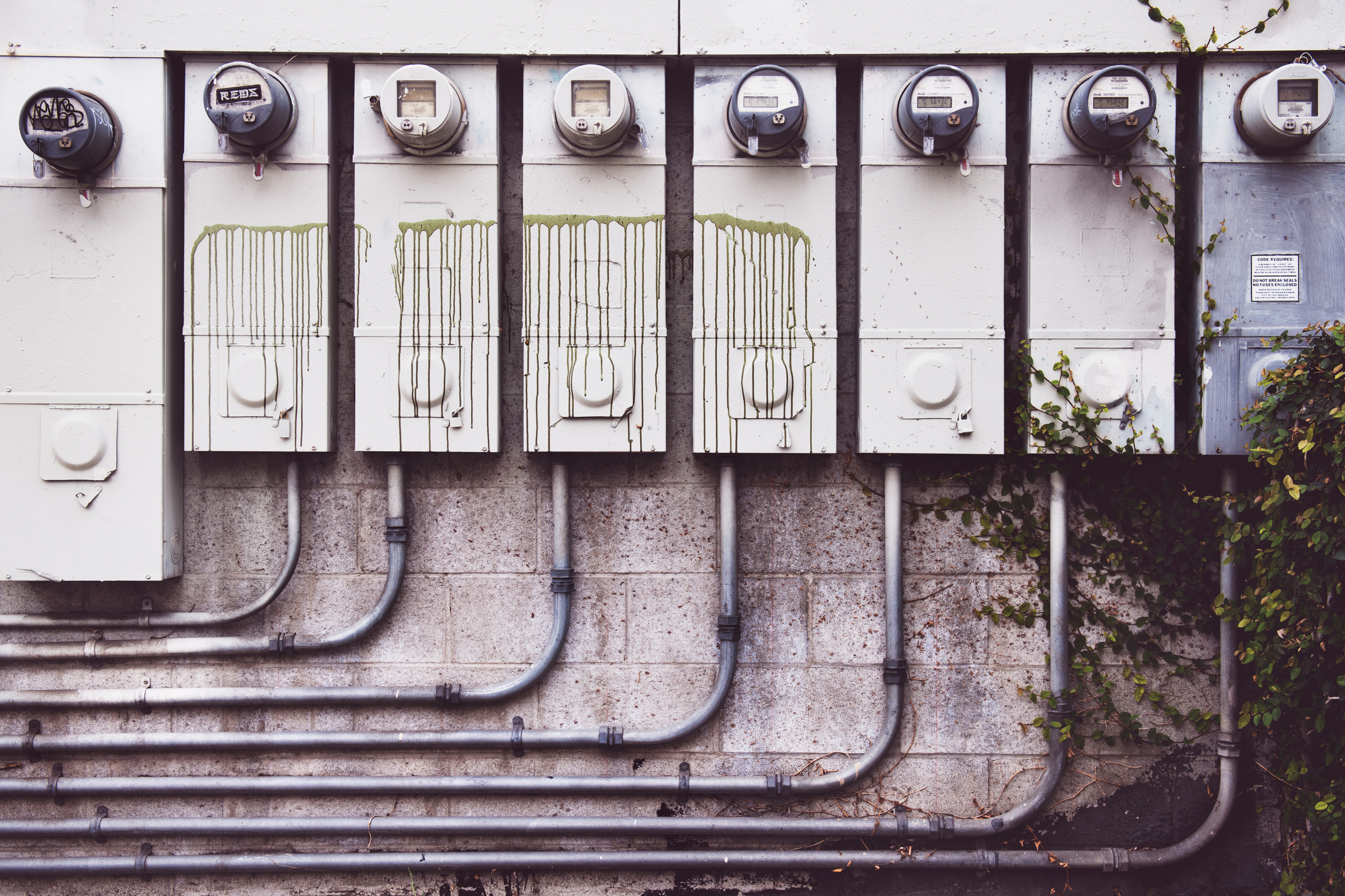 Eight Electrical Metric Meters, Steel, Security, Street, Technology, HQ Photo