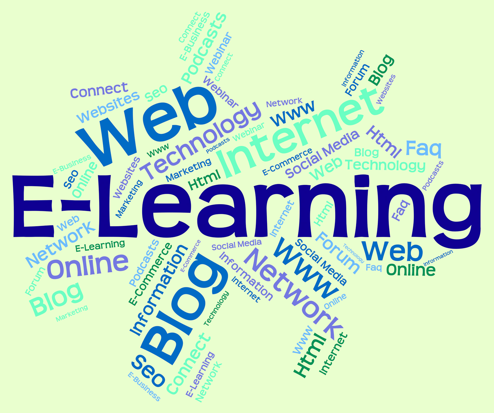 Elearning word means world wide web and college photo