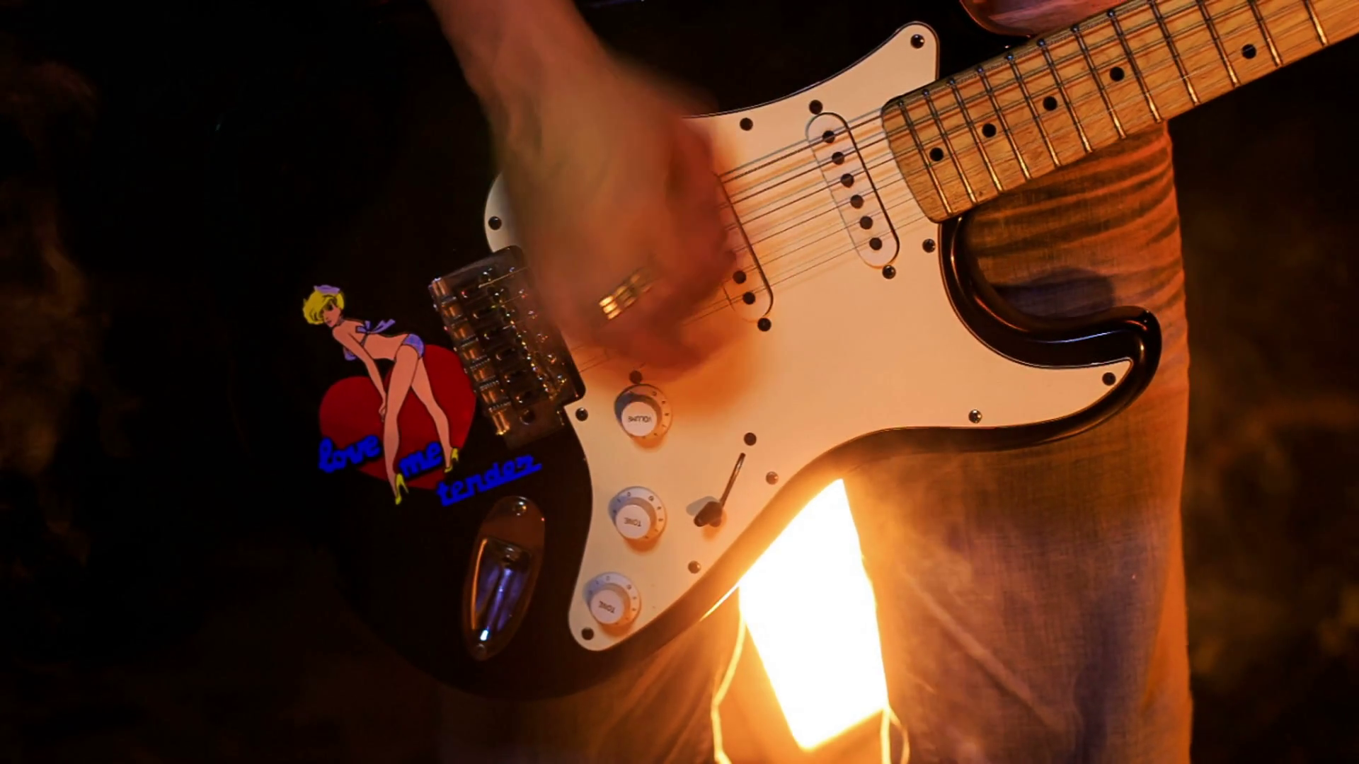 Closeup Guitarist Plays Electric Guitar in Night Bar Stock Video ...