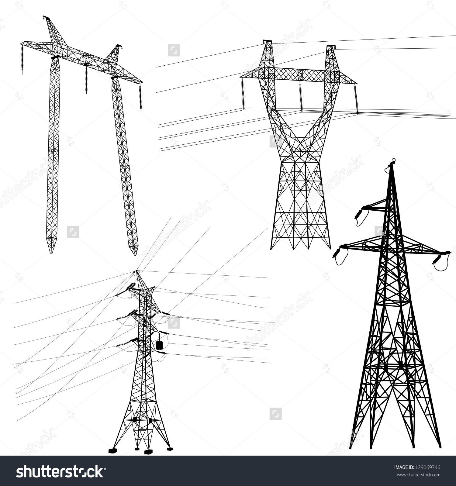 Free photo: Electricity Lines Silhouette - pylon, sunset, power ...