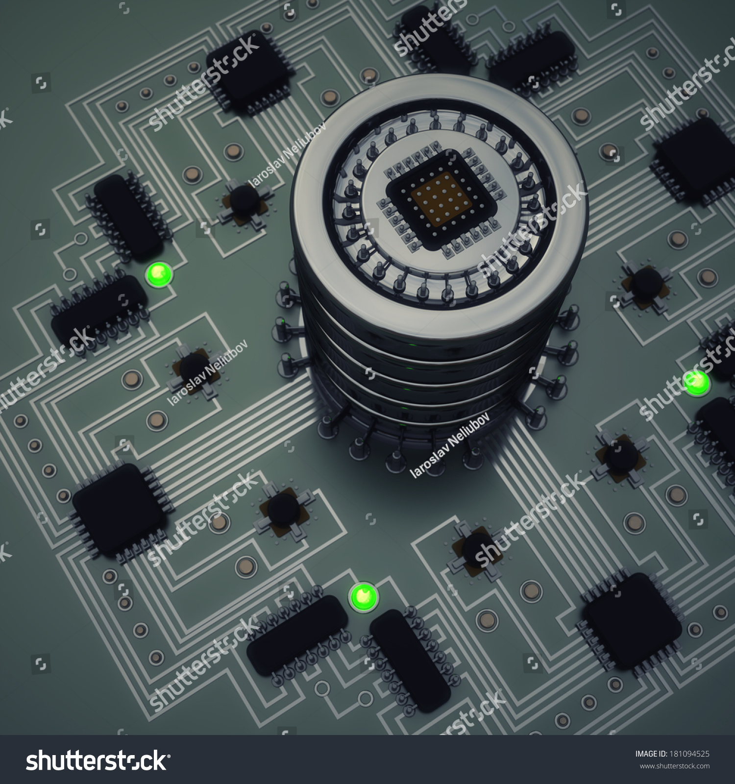 Closeup Electronic Circuit Board Processor High Stock Illustration ...