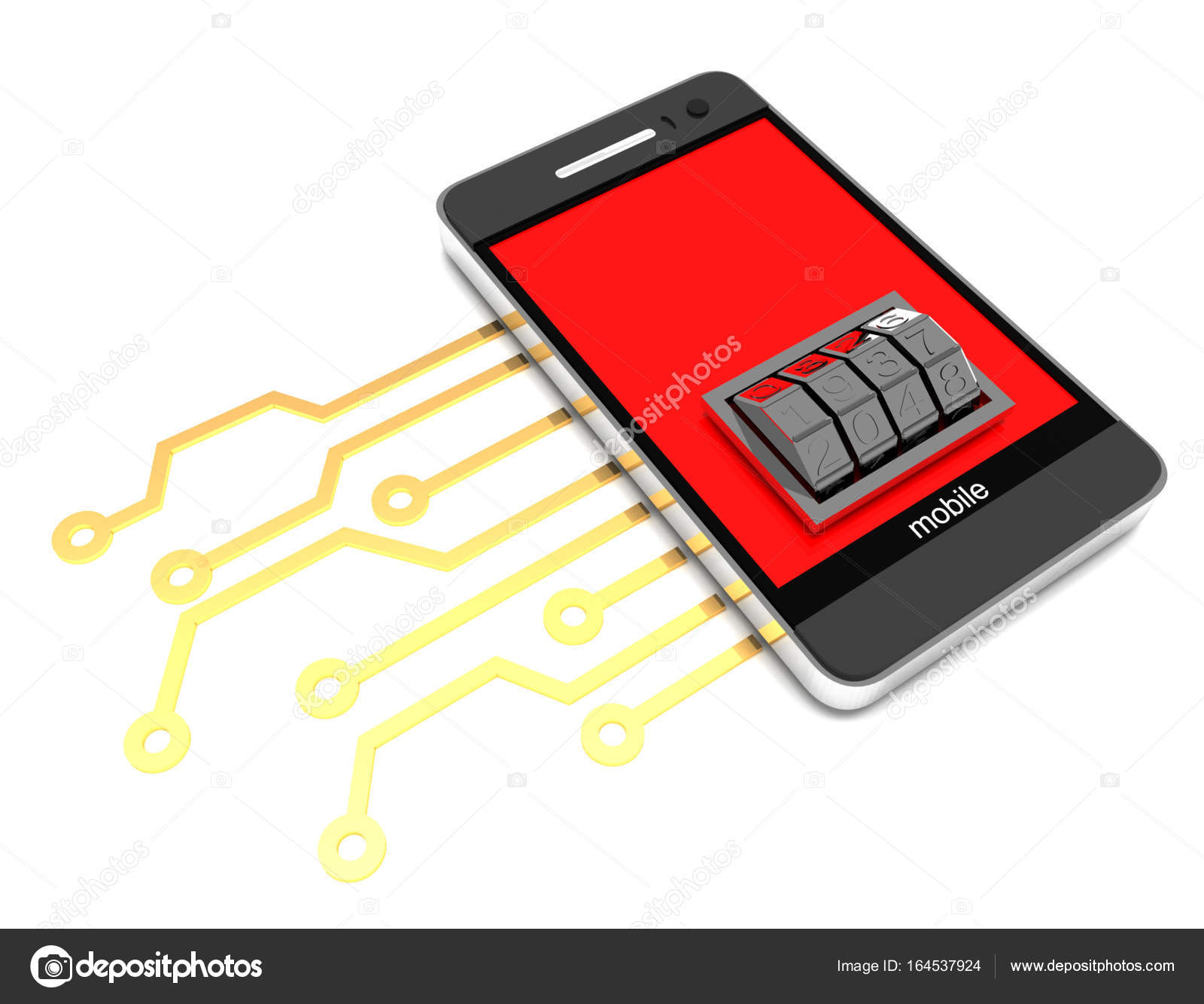 Mobile phone with electronic circuit and lock dial . 3d rendered ...