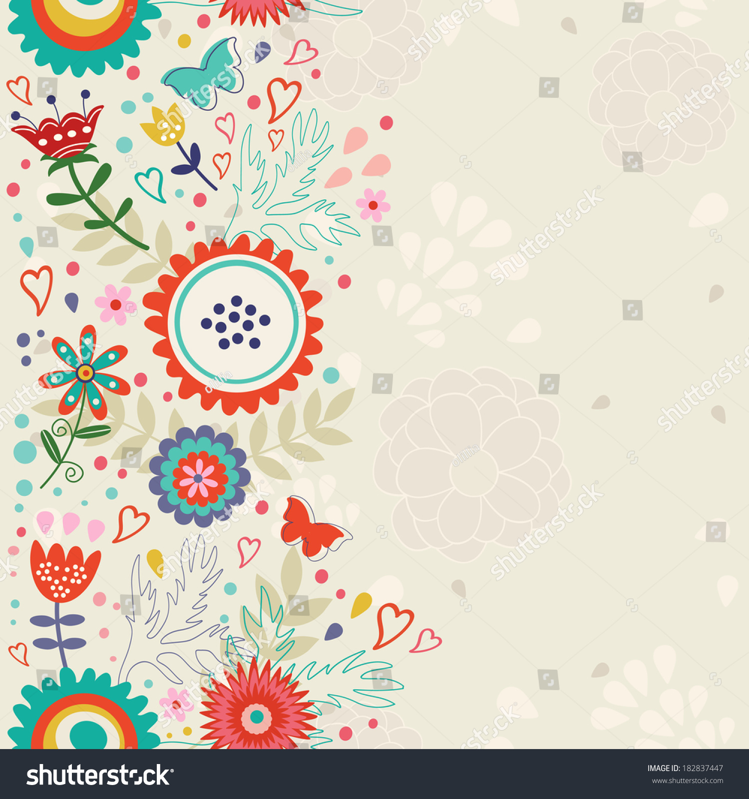 Elegant Floral Background Place Your Text Stock Vector 182837447 ...