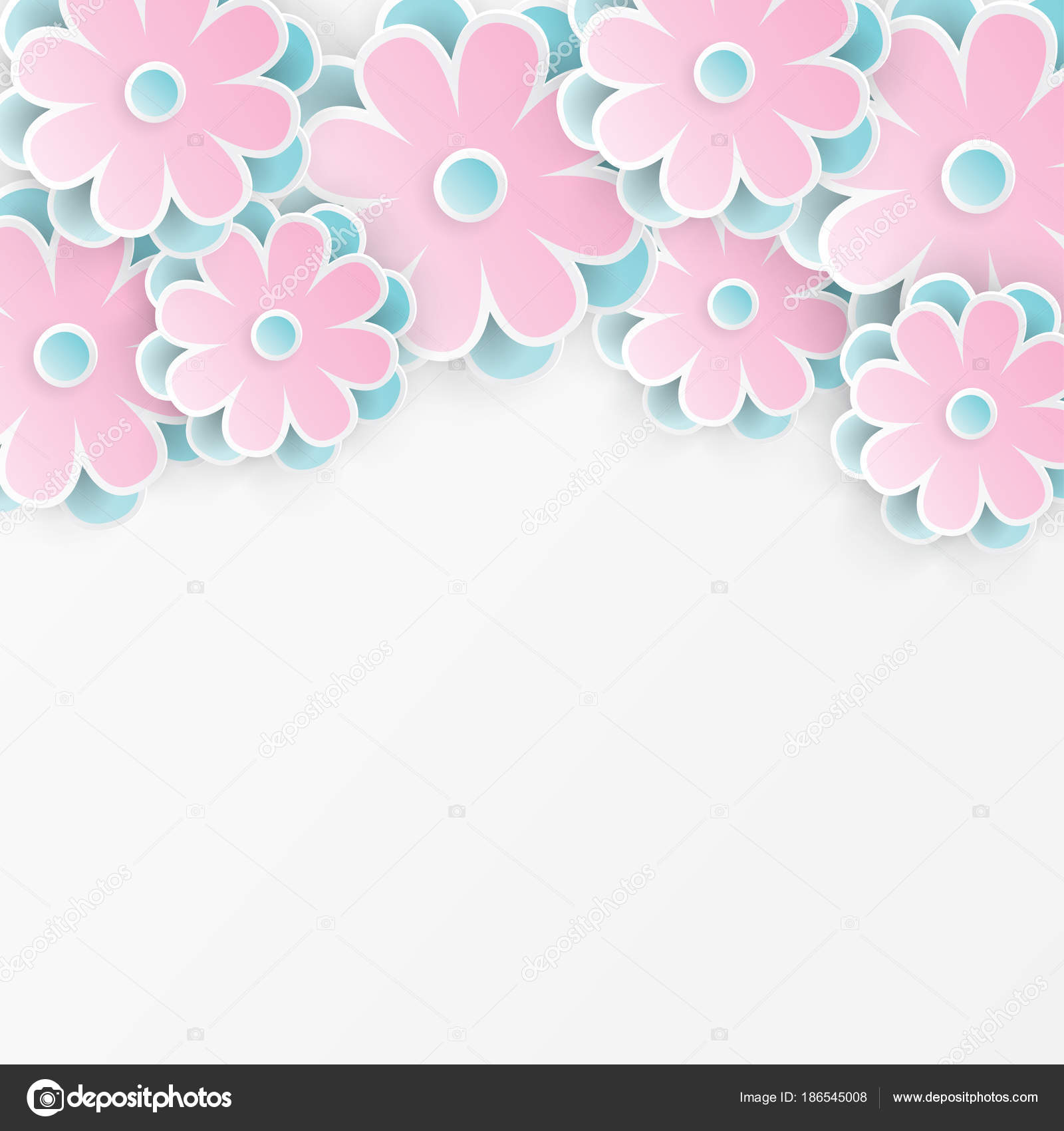 Elegant floral background with 3d paper flowers — Stock Vector ...
