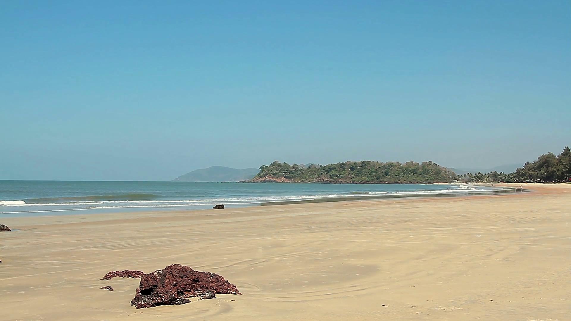 Beautiful empty beach at sunny day Stock Video Footage - Videoblocks
