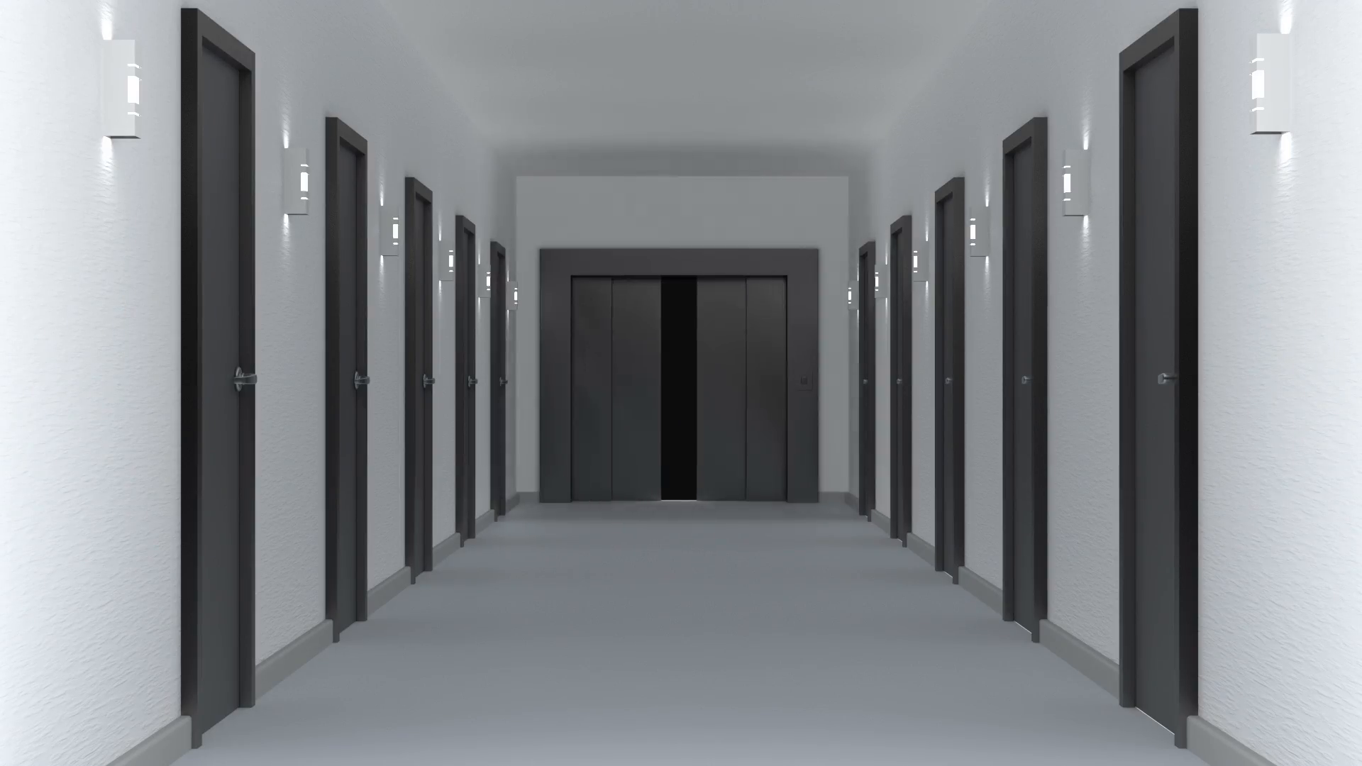 Empty hallway with elevator in the end. Animation of camera moving ...