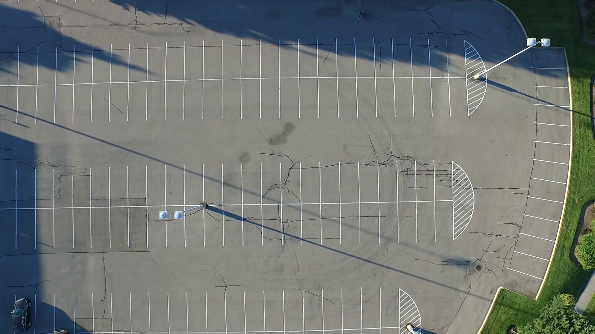Empty Parking Lot Cracked Aerial Zoom Birds eye view Stock Video ...