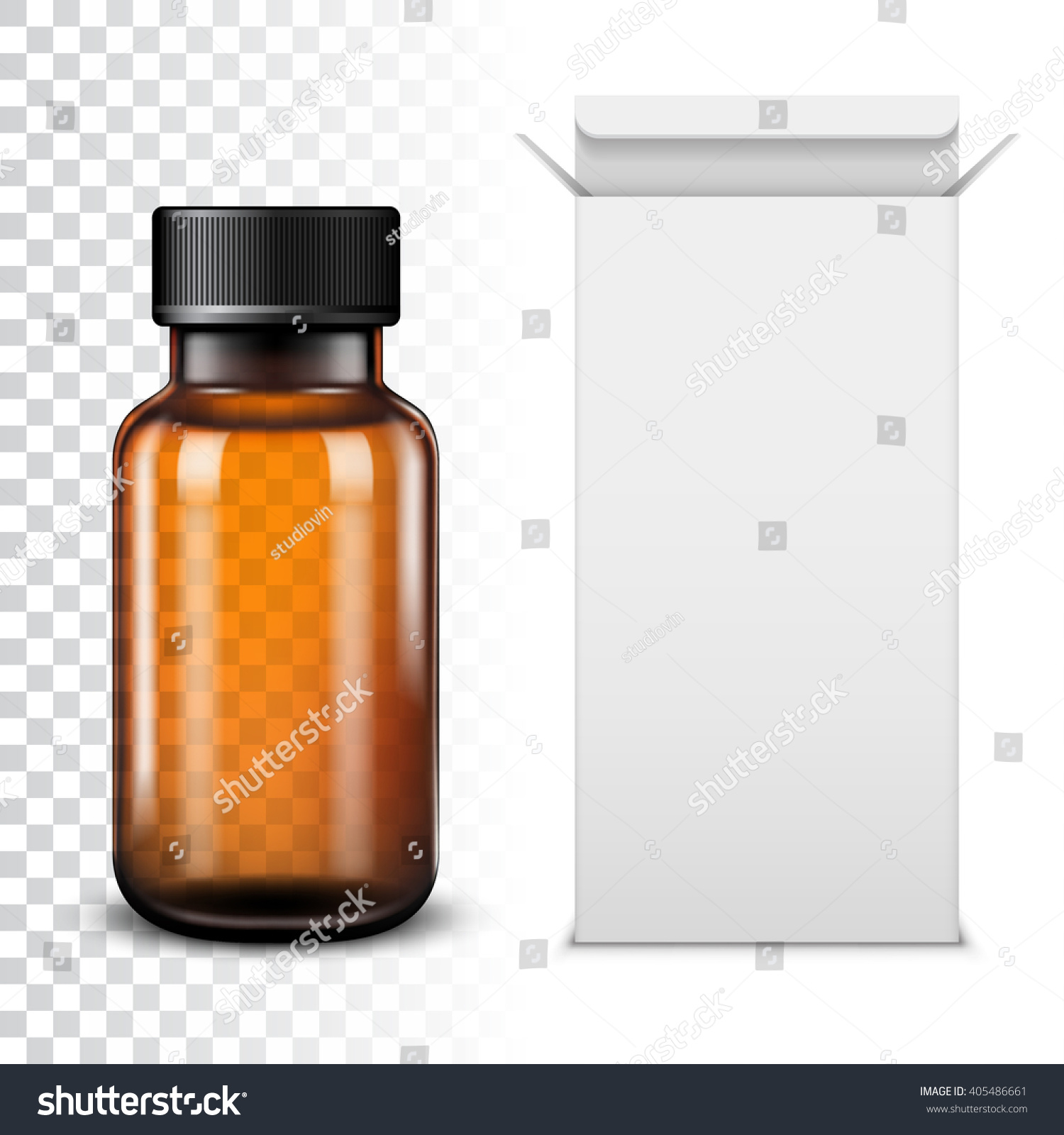 Template Empty Transparent Glass Bottle Vector Stock Vector ...