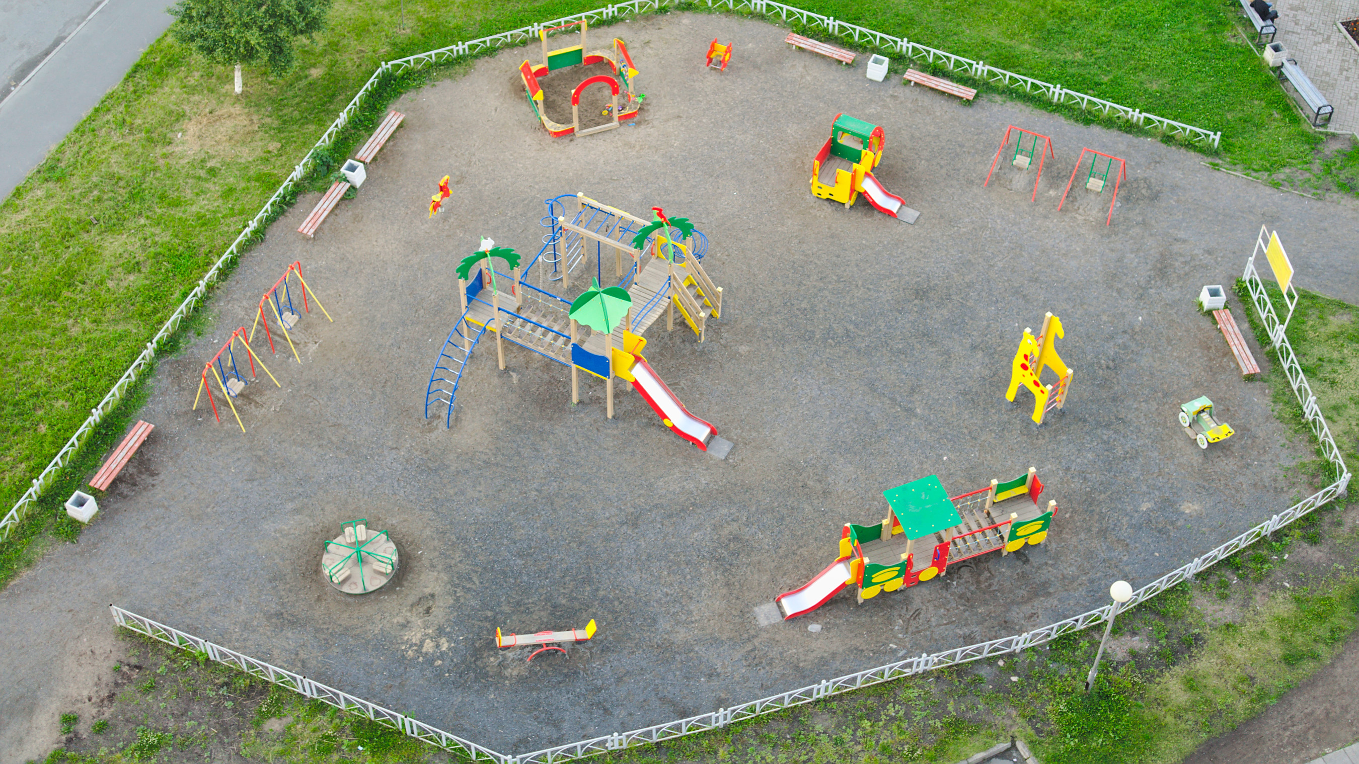 Empty playground from above photo