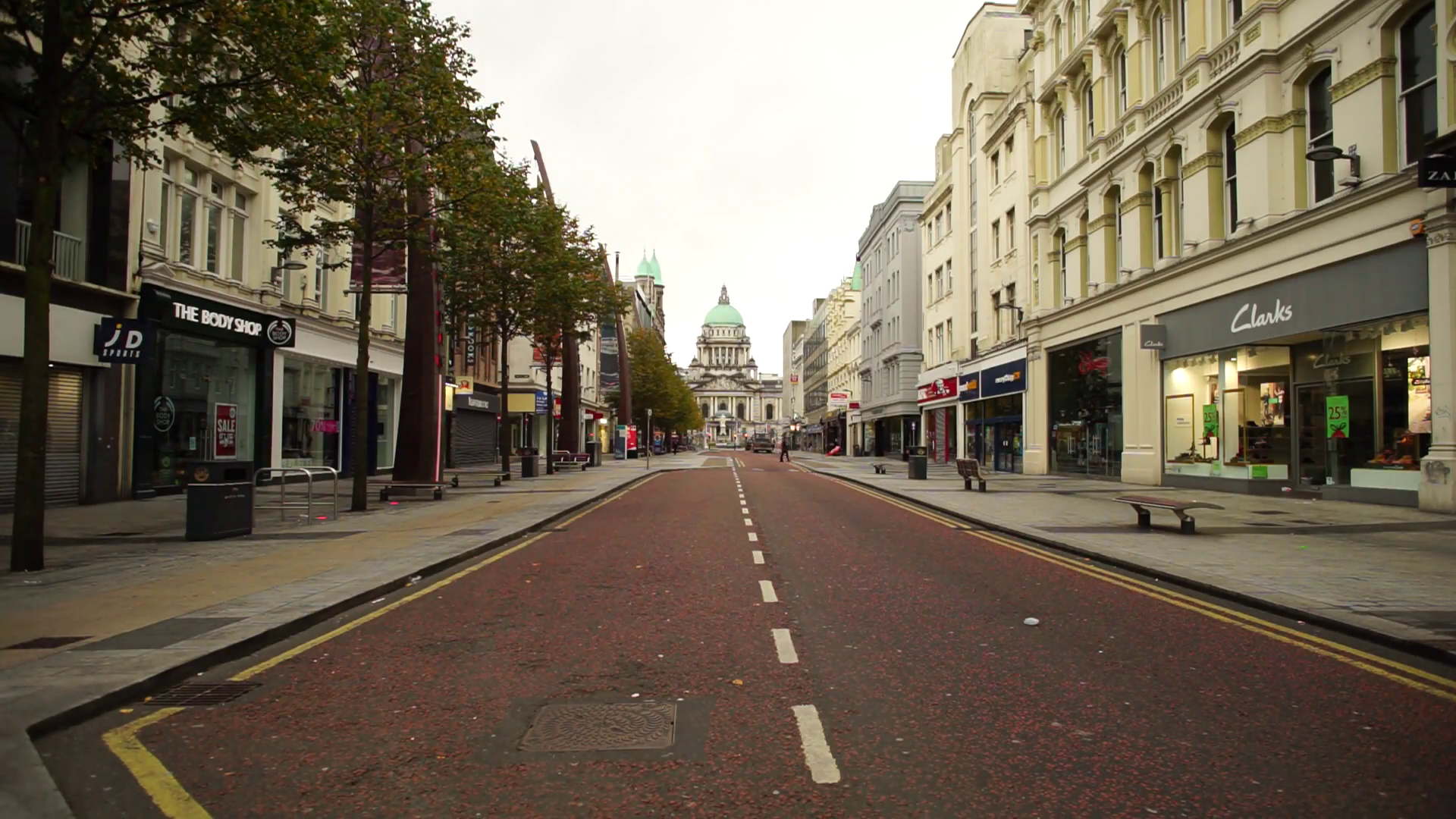 Belfast City Hall Donegal Place outside Clarks empty street Wide ...