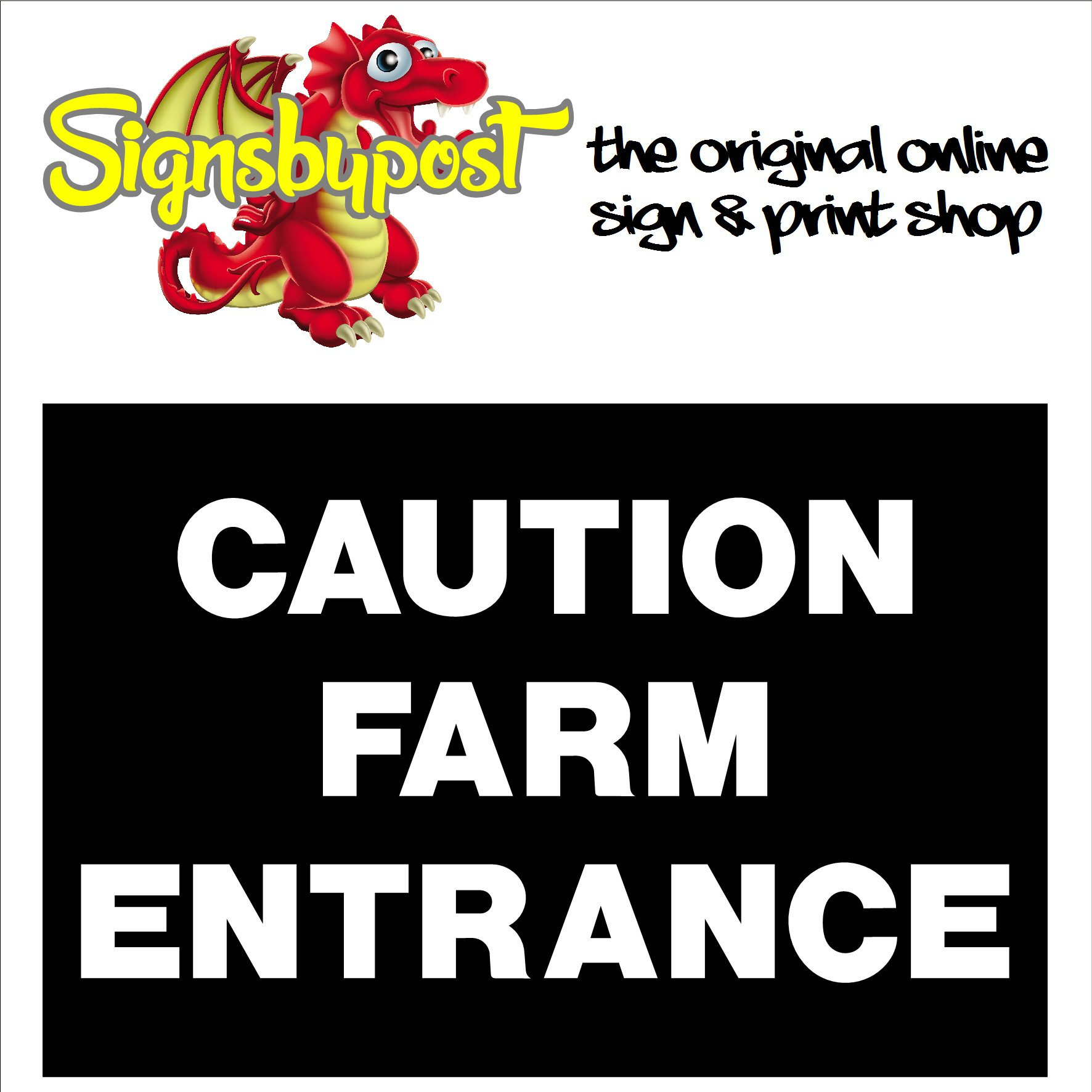 Caution farm entrance sign 9011 – Signs by Post