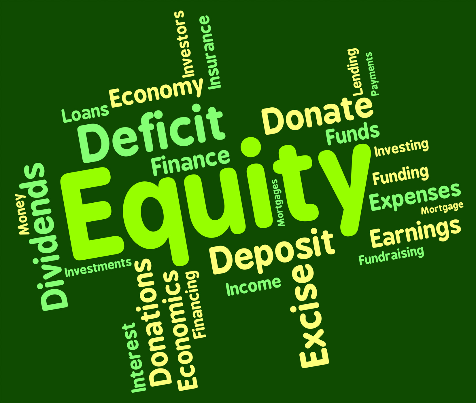 Equity word shows fund capital and riches photo