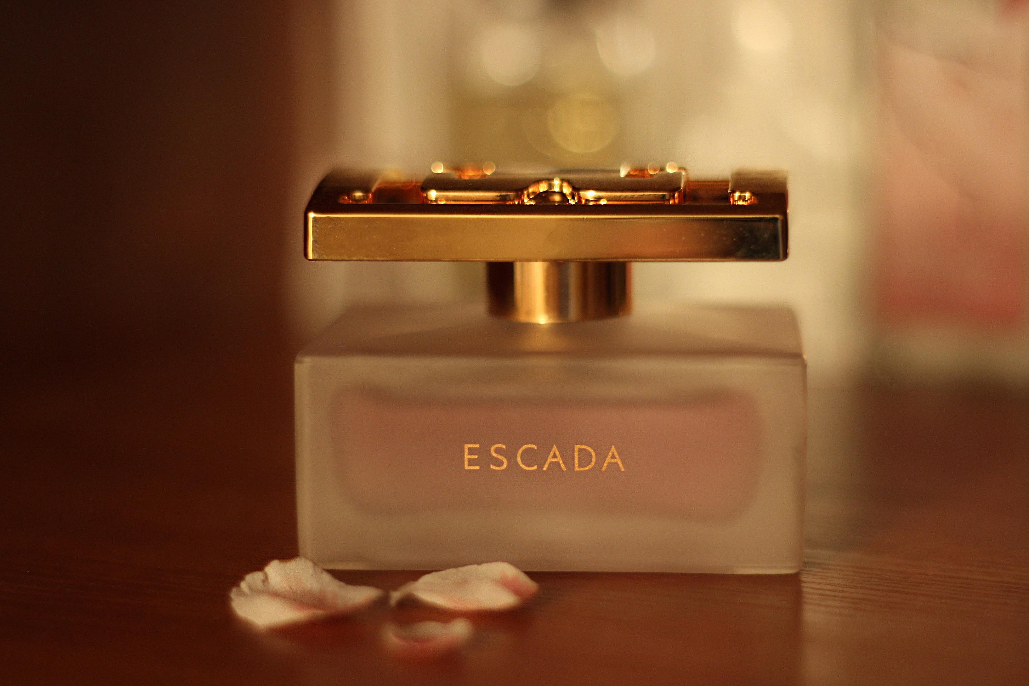 Escada perfume bottle on table photo