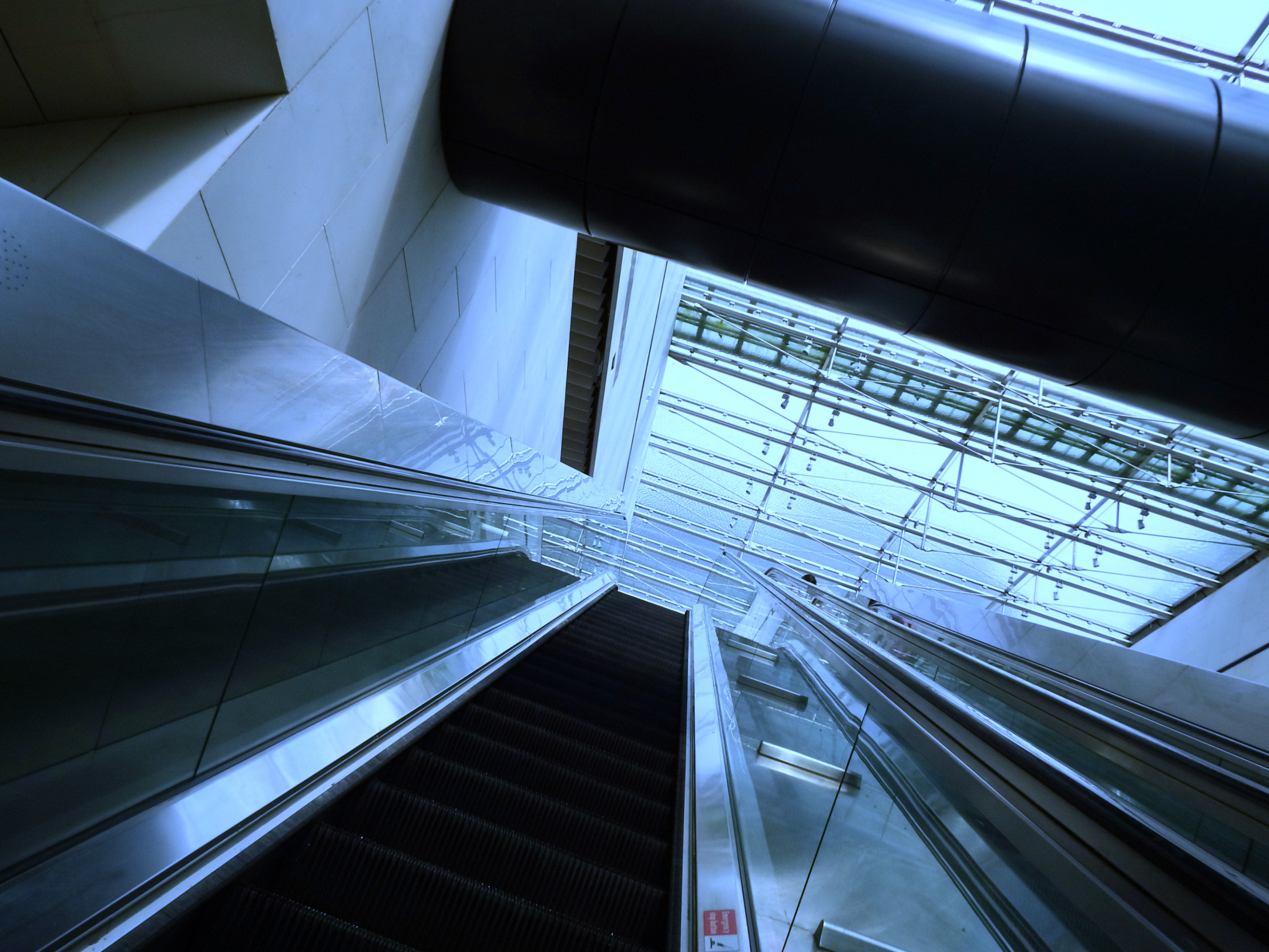 Escalator looking up, Airport, Metal, Urban, Up, HQ Photo