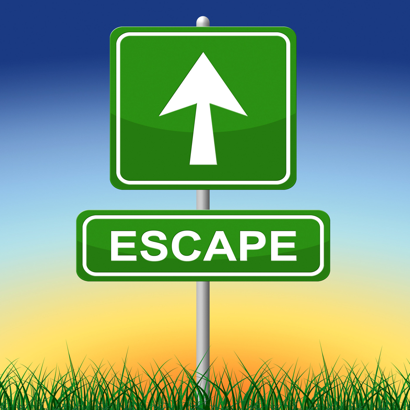 Escape sign represents get away and arrow photo