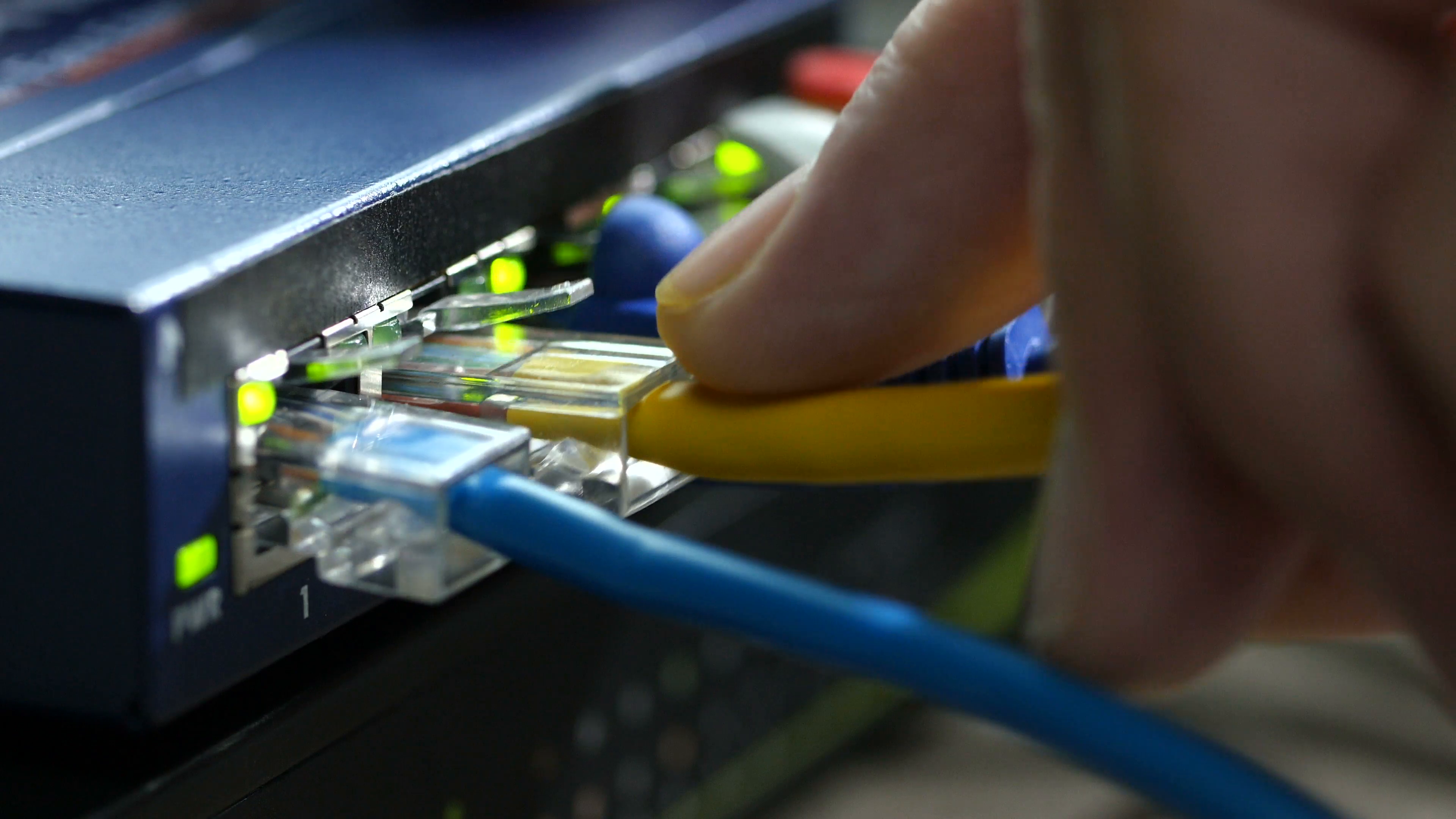 Ethernet cable being plugged into router, close up Stock Video ...