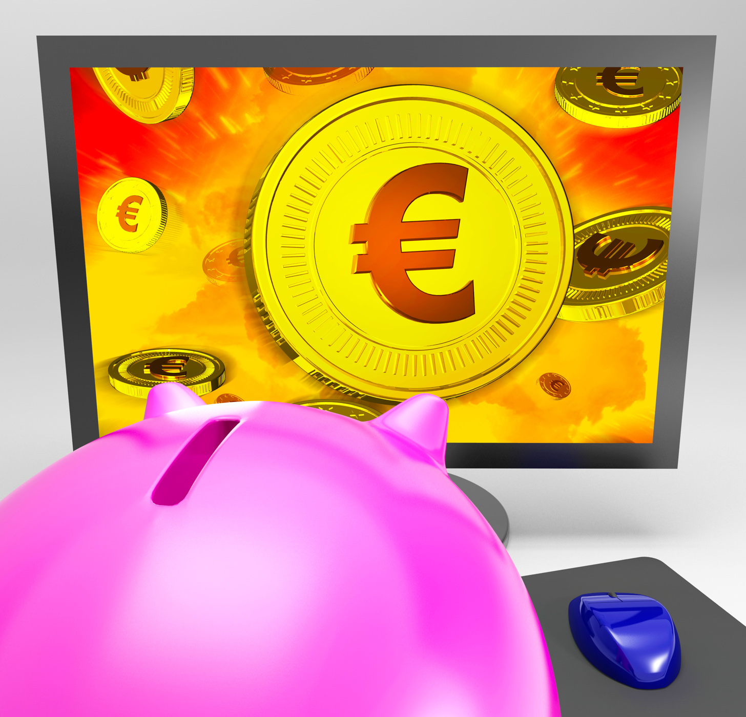 Euro Coin Shows Finance Wealth And Savings, Financing, Screen, Savings, Piggybank, HQ Photo