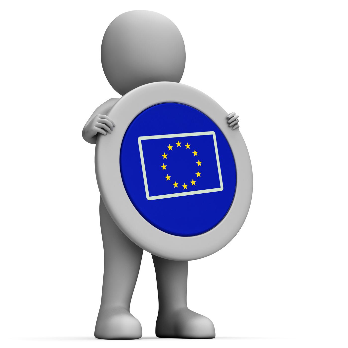 Euro flag means european union and advertisement photo