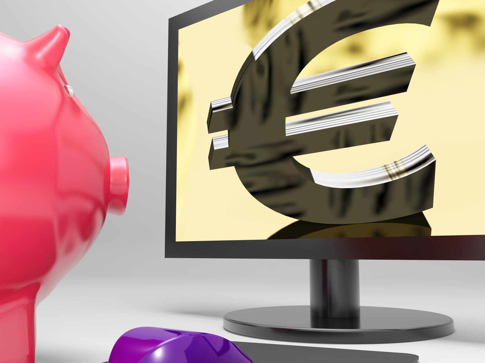 Euro Screen Shows Finance Wealth And Prosperity, Financing, Savings, Prosperity, Money, HQ Photo