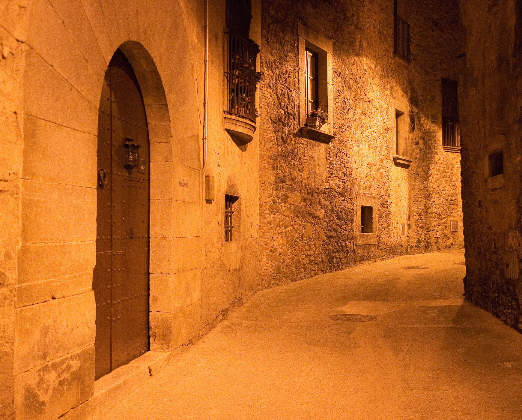 European historic alley at night photo